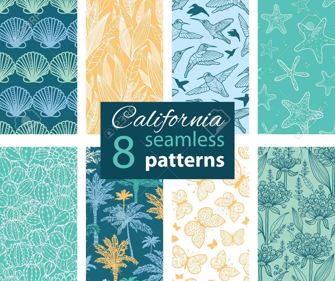Vector California Nature 8 Set Seamless Pattern. - 44205764