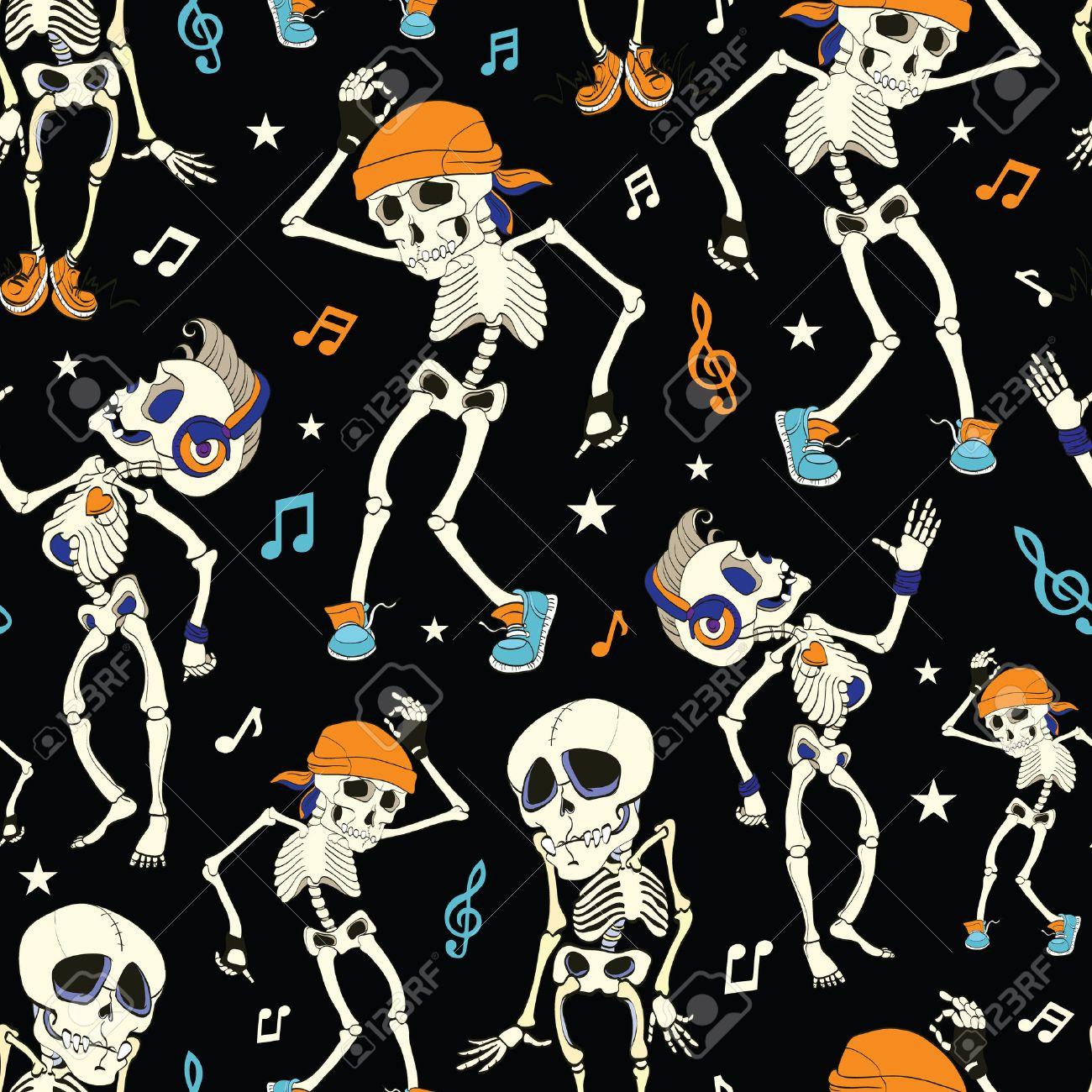 vector dancing skeletons party halloween seamless pattern music disco funny headphones graphic design stock - Dancing Halloween