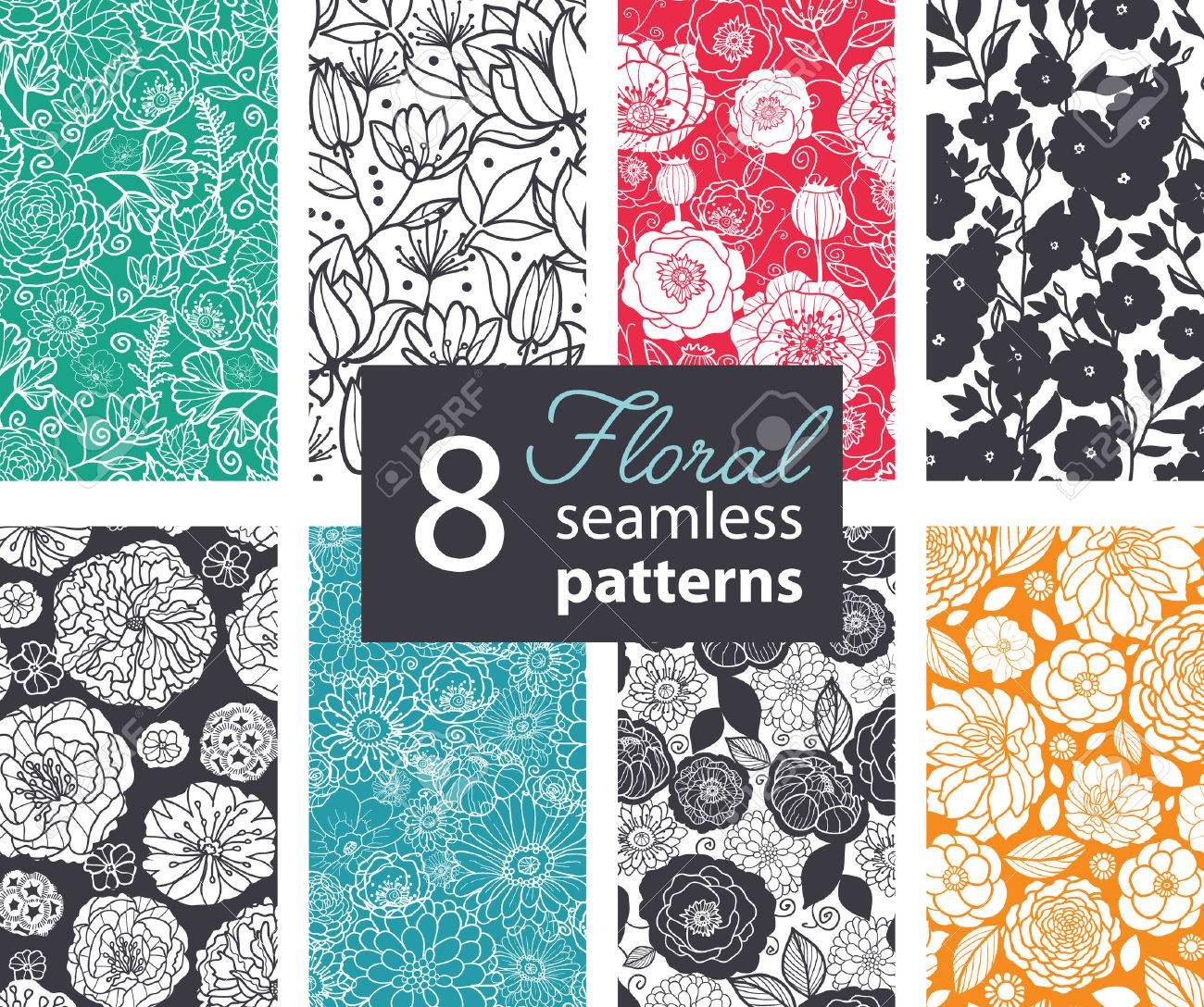 Vector Black White Color Flowers 8 Set Seamless Pattern. Poppy, peony graphic design - 46136499