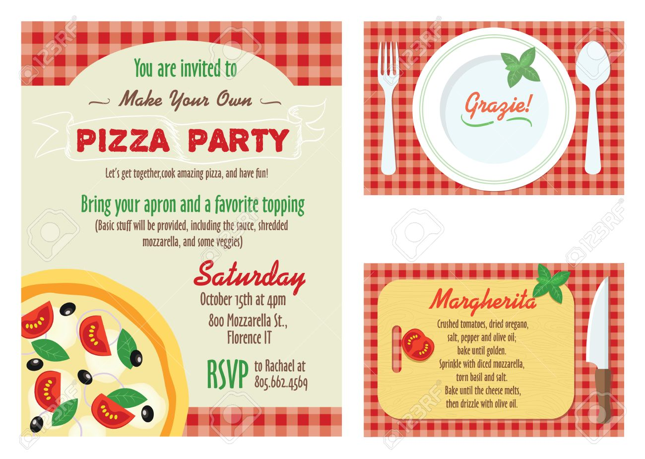Vector Make Your Own Pizza Party Invitation Set. Recipe Card ...