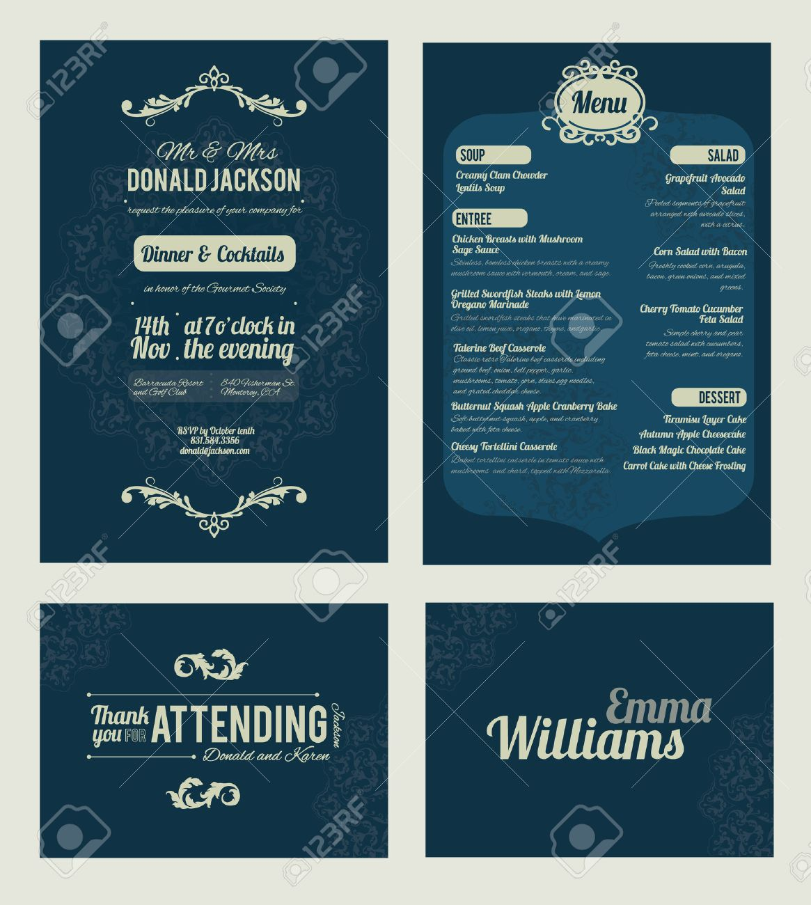 Vector Elegant Blue Dinner Coctails Party Invitation Set. Invite, menu, thank you, place card, event collection, graphic design Stock Vector - 48482474