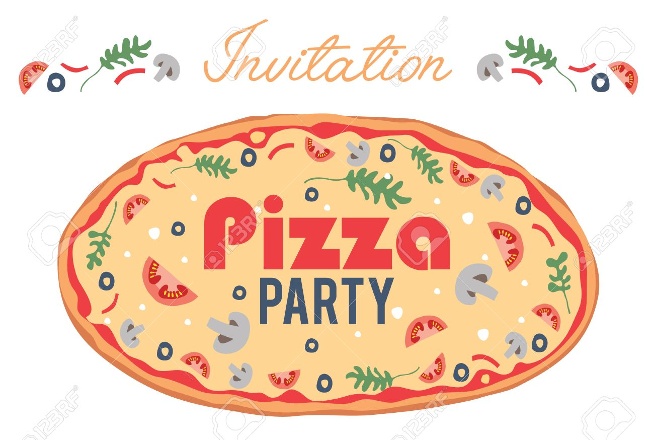 Vector Pizza Party Invitation Poster Flyer Card Dinner Social – Pizza Party Invite