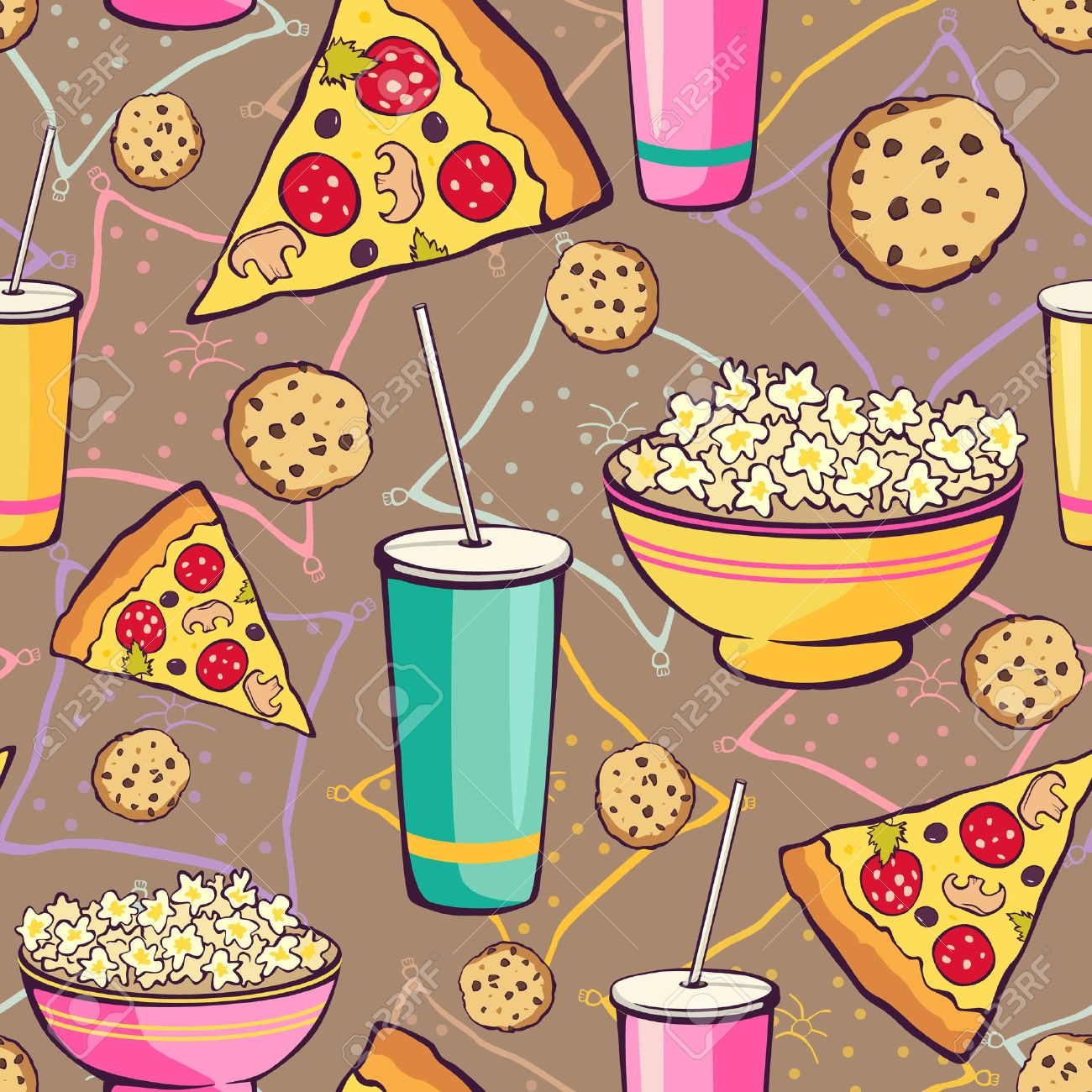Vector Brown Slumber Party Food Seamless Pattern. Pizza Drink Cookie Popcorn Snack Graphic design Stock Vector - 49161094