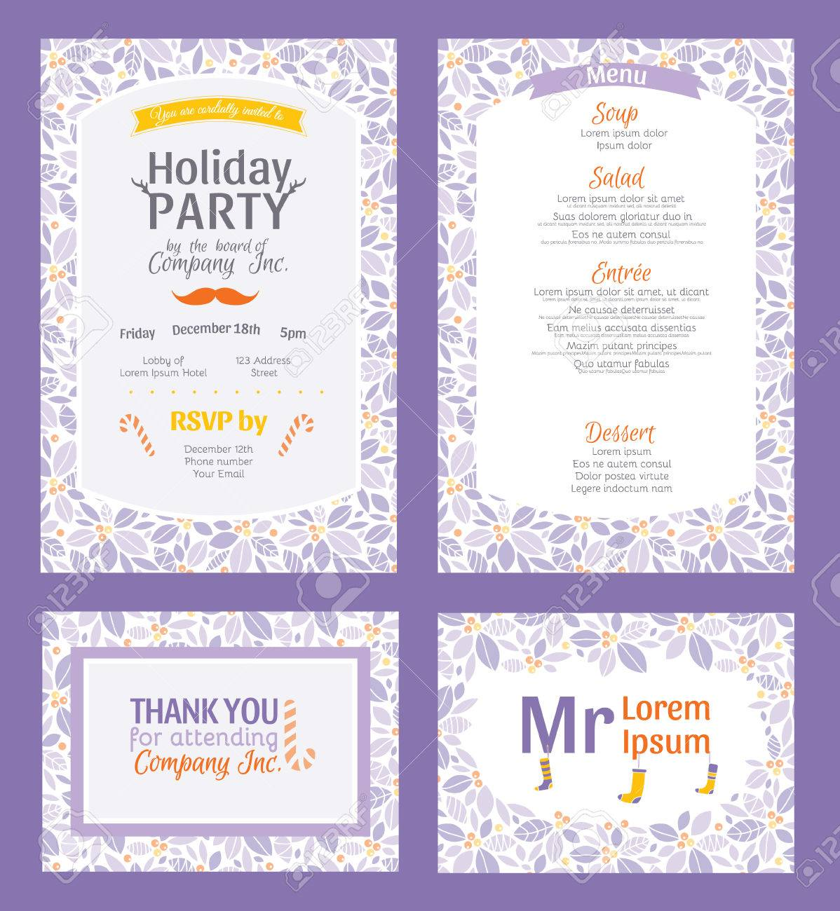 vector puprle holiday party invitation set holly berry vector vector puprle holiday party invitation set holly berry pattern frame invite menu thank you placement card graphic design
