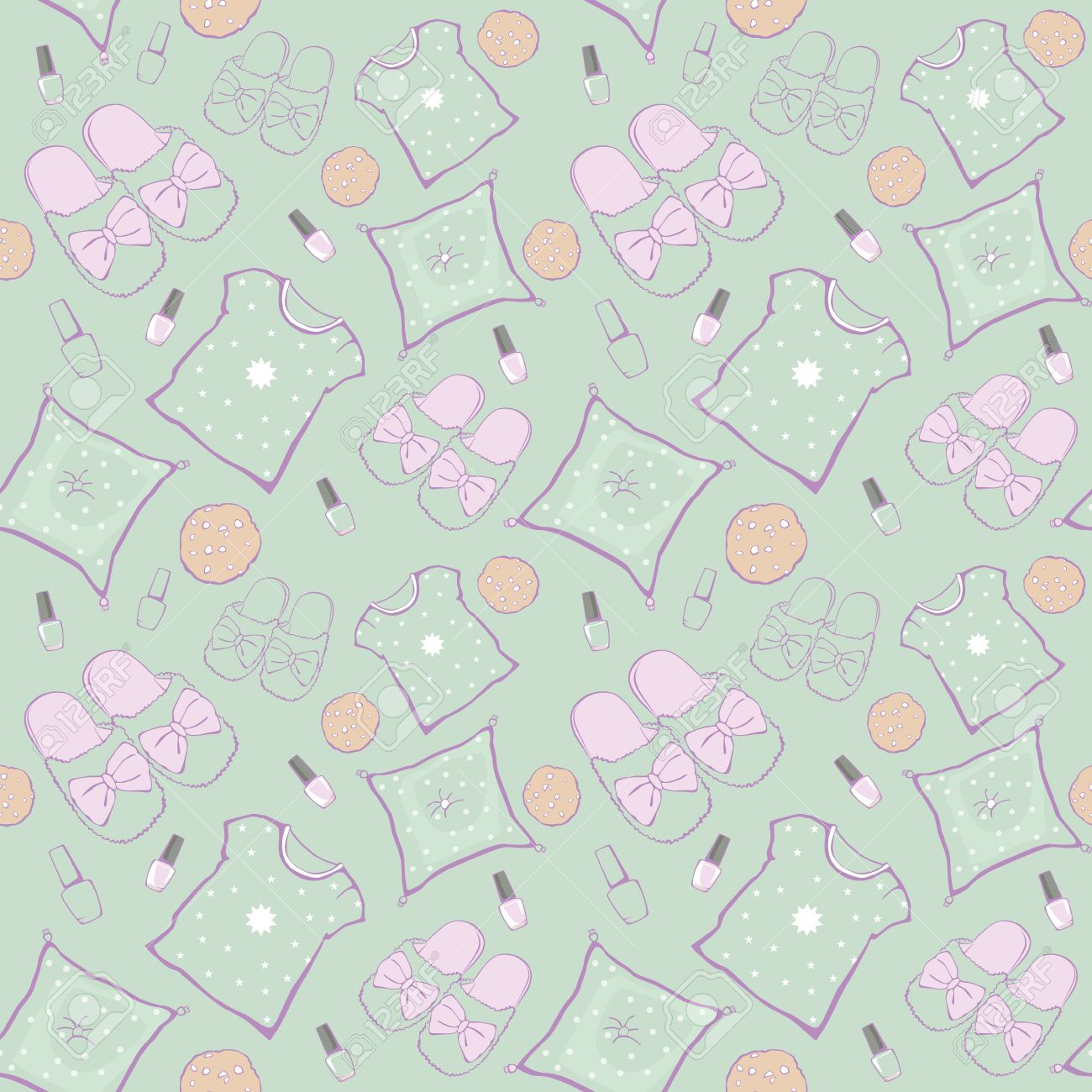 pillow texture seamless. Vector Green Pajama Party Movie Night Seamless Pattern. Slippers, Pillows And Snacks. Graphic Pillow Texture