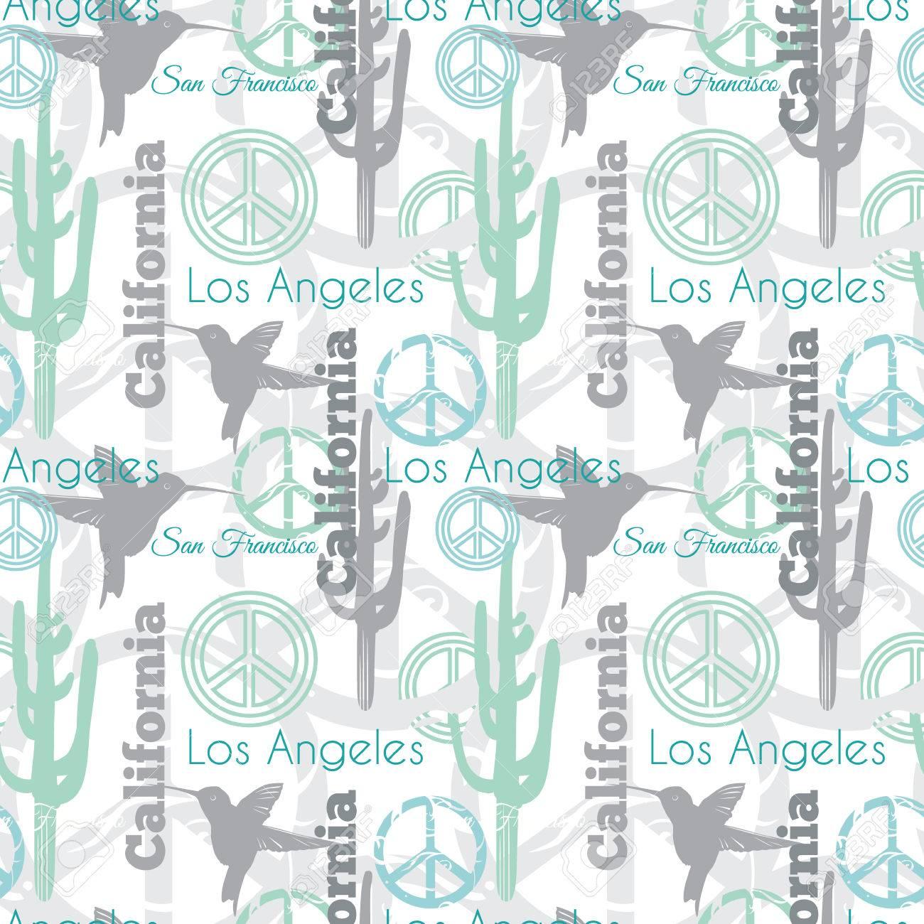 Vector En Colores Pastel California Animales Viajes Patrón Sin ...