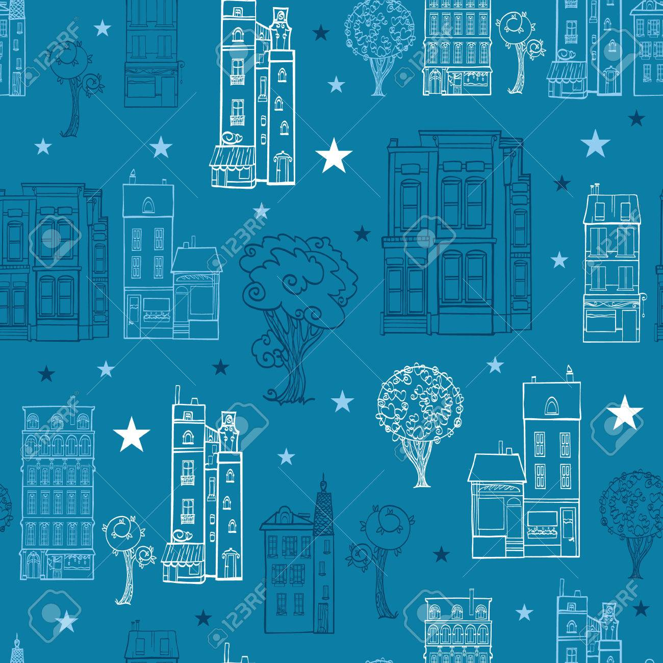 Denim Blue Town Houses Trees Streets Drawing Seamless Pattern ...