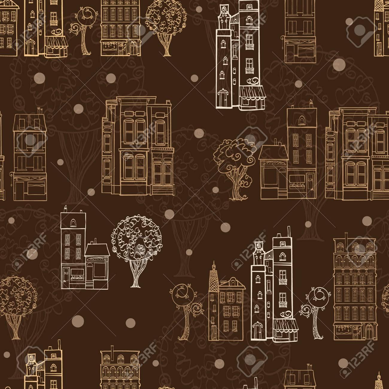 Chocolate Brown Stadthäuser Bäume Straßen Zeichnung Nahtlose Muster ...