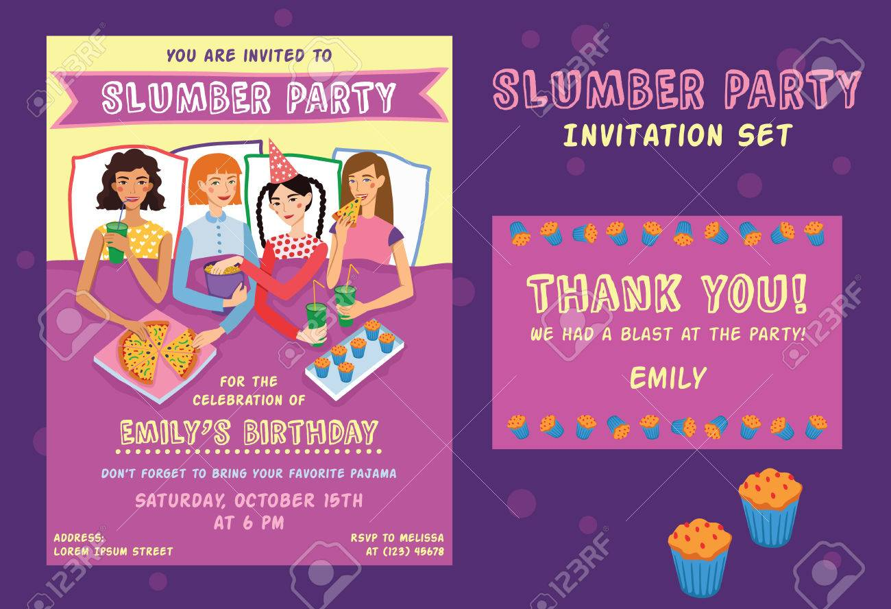 Slumber Party Birthday Invitation Thank You Card Set With Four Cute Girls Friends Illustration Ginger Brunette Blond And Brown Haired Girlfriends