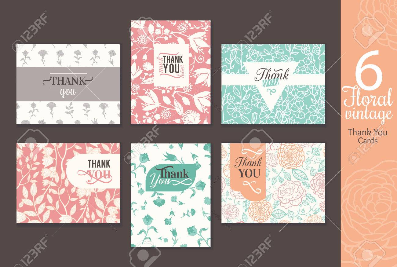 six vintage floral wedding thank you card set with fun frmaes