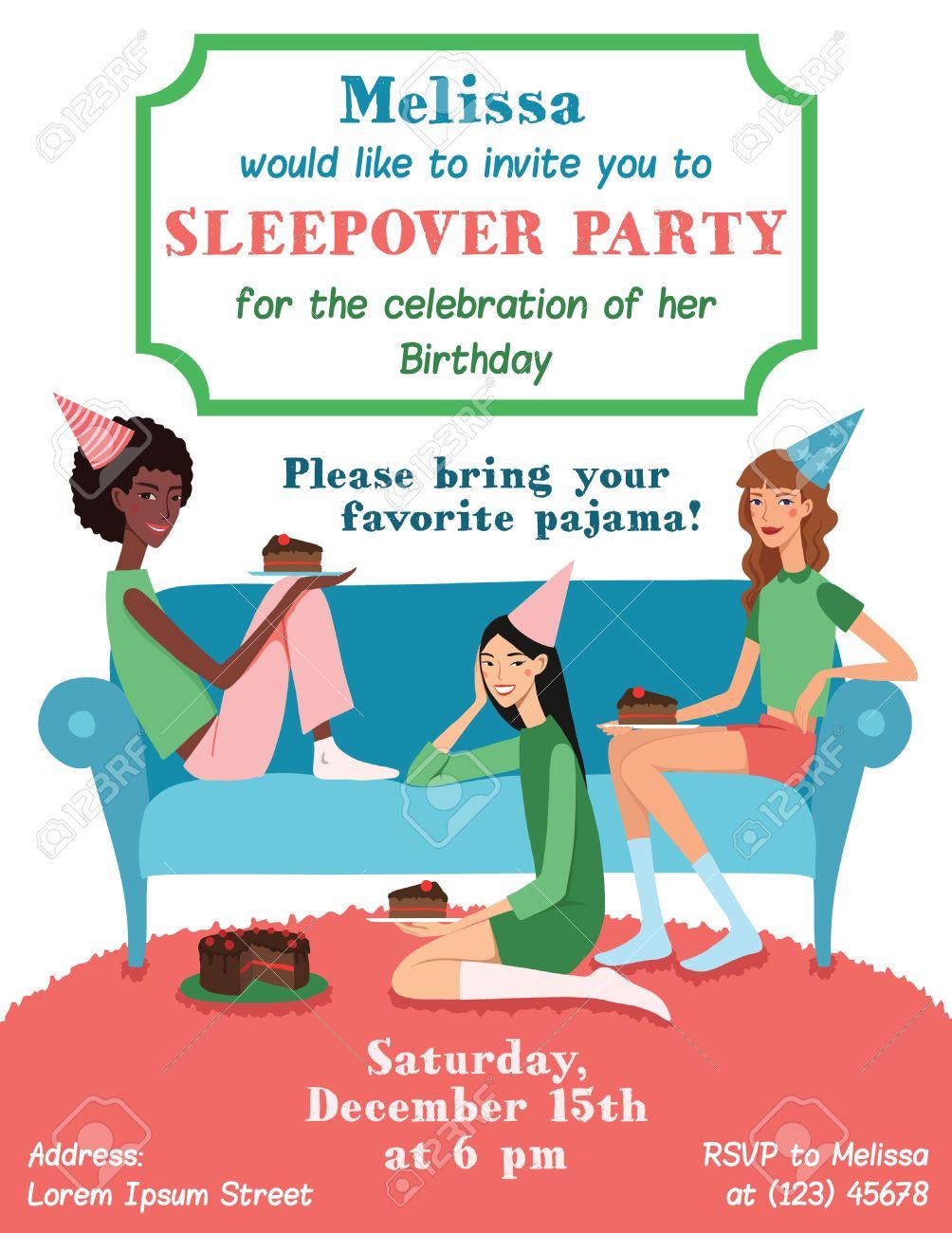 Tarjeta De Invitación Adolescente Fiesta De Cumpleaños De Con Tres Amigos Bonitos Que Celebran Come La Torta En El Sofá Perfecto Para Una Fiesta De