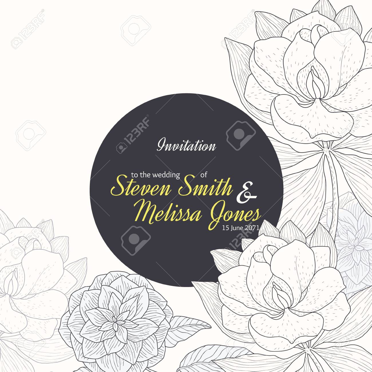 Vector Vintage Yellow Black Frame Floral Drawing Wedding Invitation ...