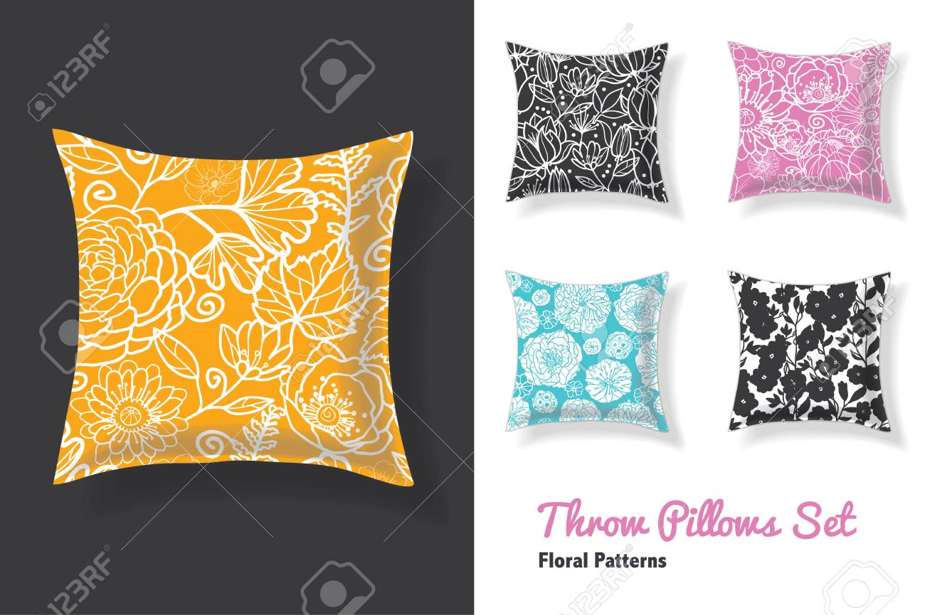 Premium Set Of Throw Pillows In Matching Unique Floral Seamless Royalty Free Cliparts Vectors And Stock Illustration Image 69045422
