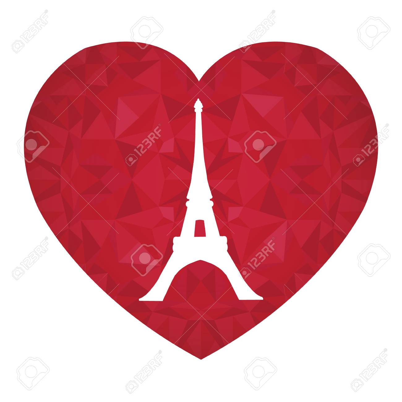 Vector Eifel Tower Paris On St Valentines Day Ruby Red Heart ...