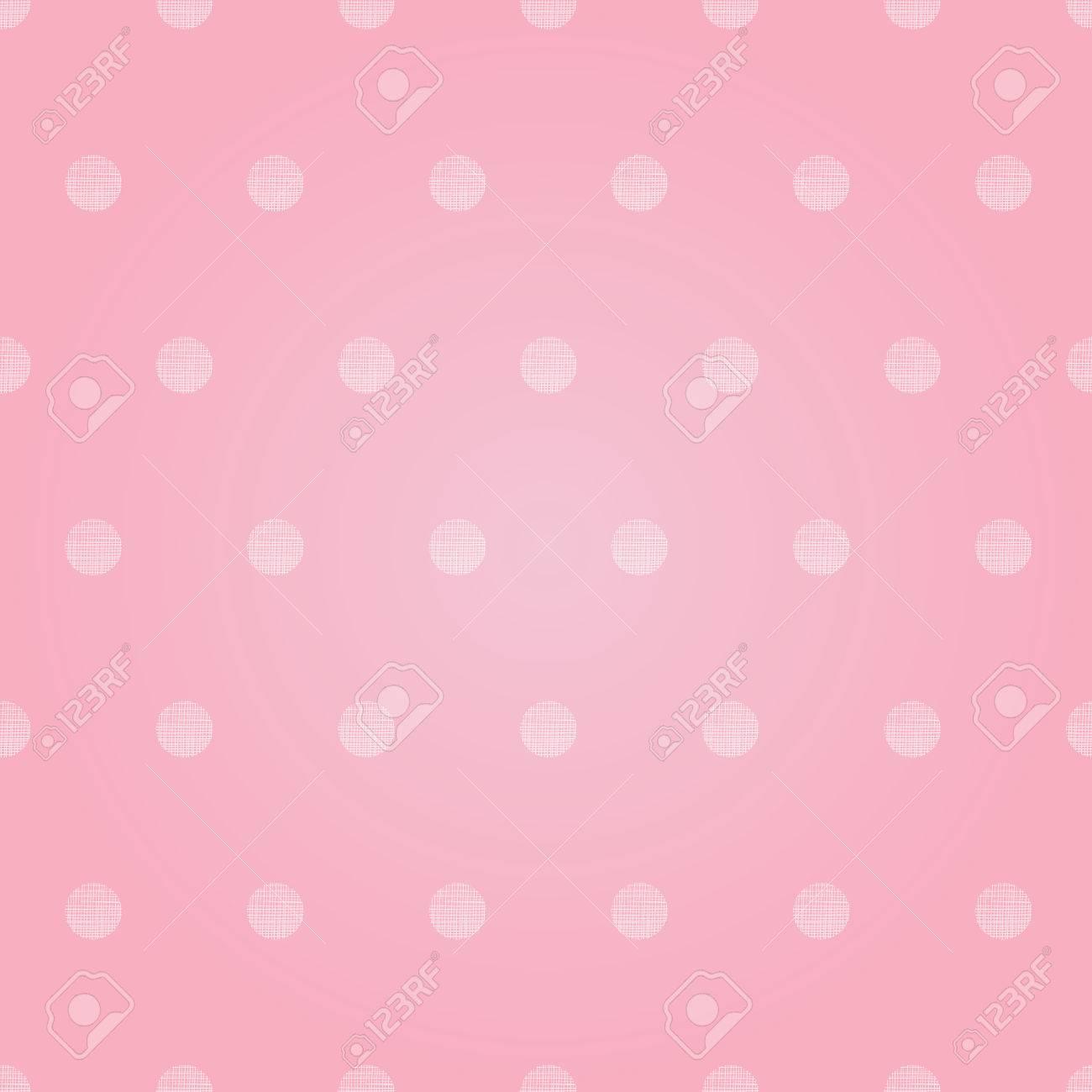 Vector Vintage Pastel Pink Baby Girl Polka Dots Circles Seamless