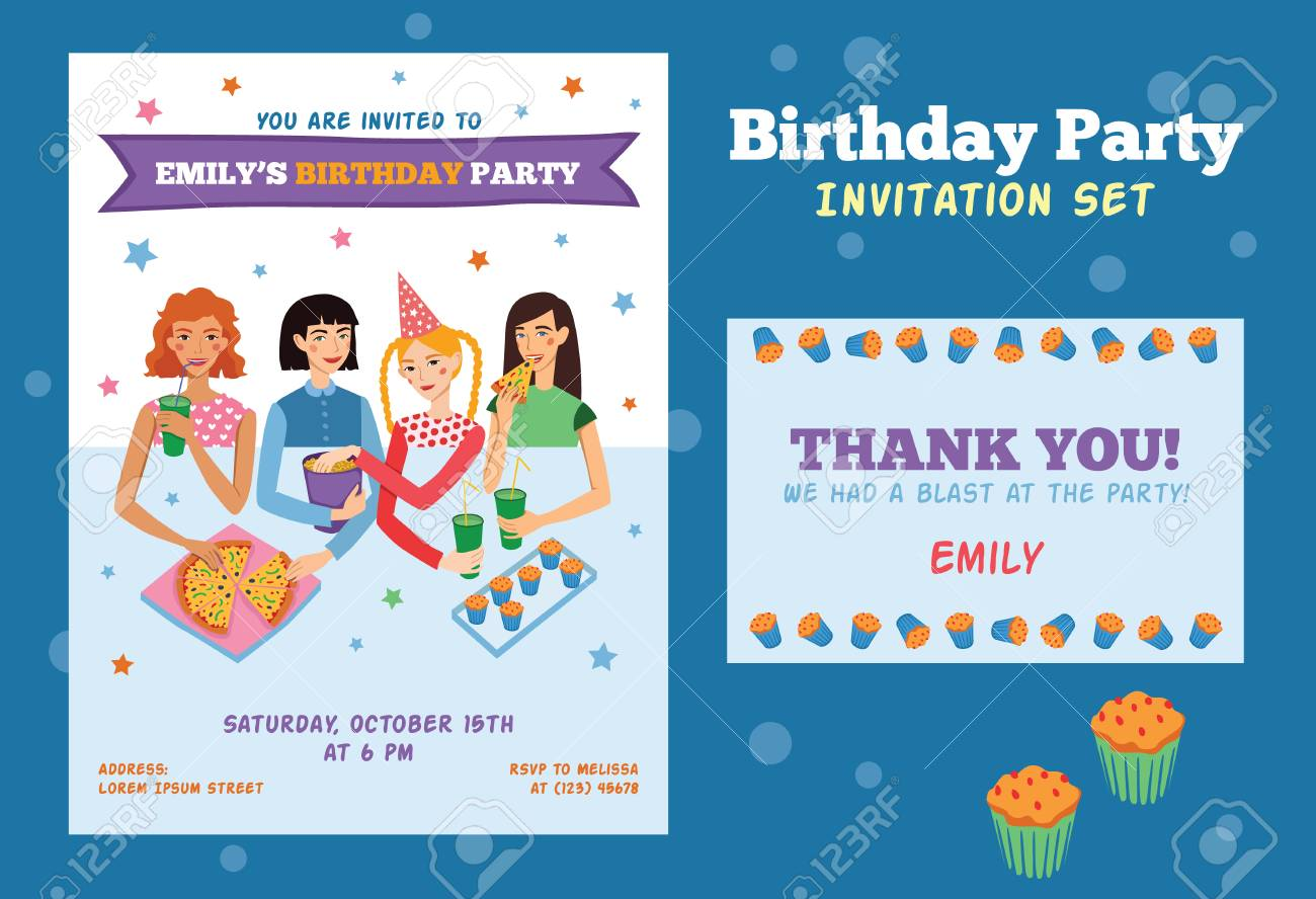 Set Of Vector Invitation And Thank You Card For Teenage Girls