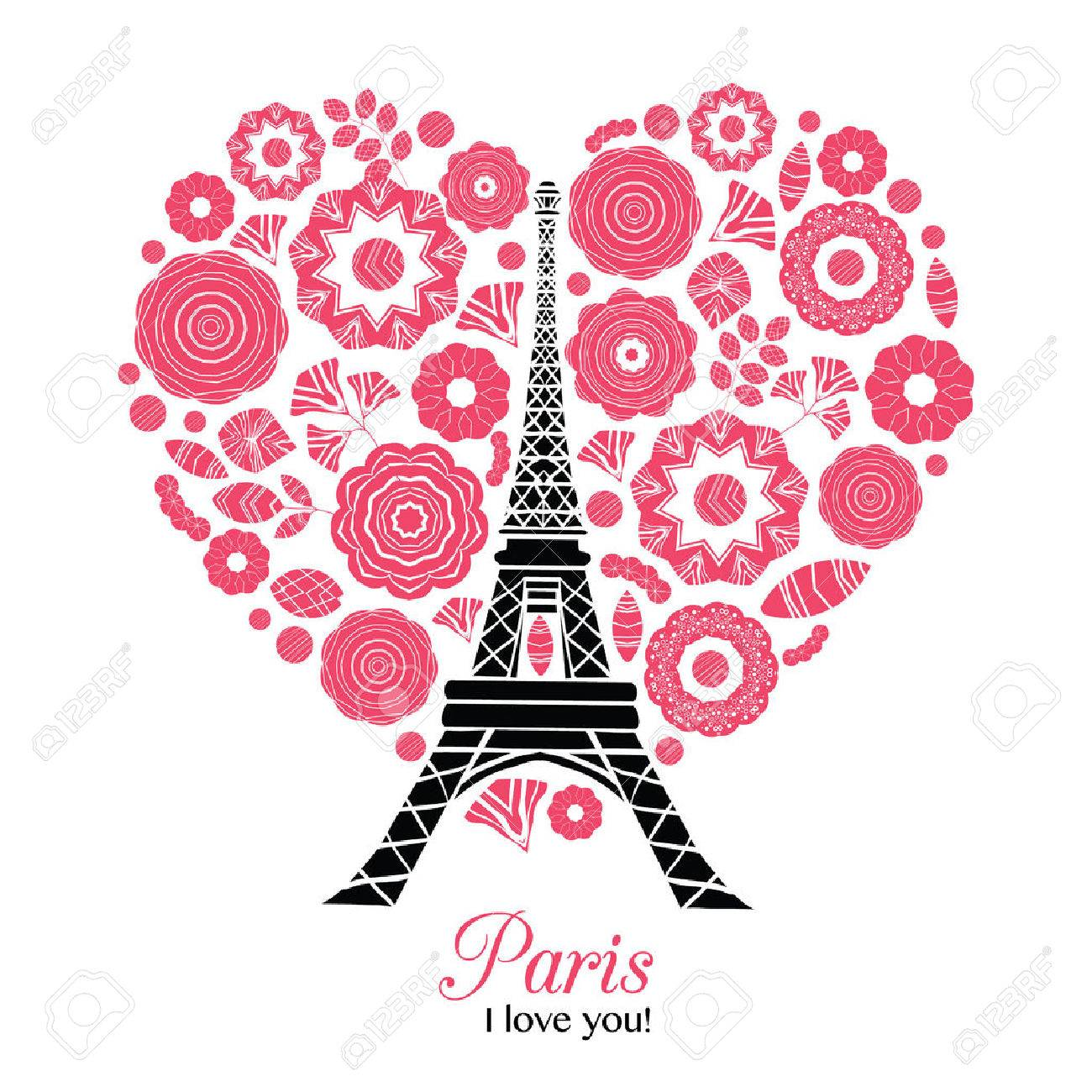 Fesselnd Vector Paris Eifelturm Bursting Mit St. Valentinstag Rote Herzen Der Liebe.  Perfekt Für Reisen