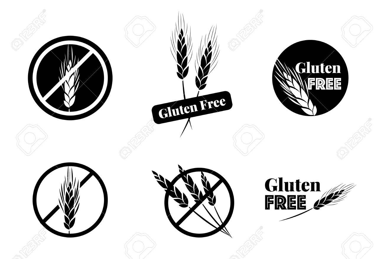 Vector Set Of Six Gluten Free Symbols With Banned Wheat Heads Icon