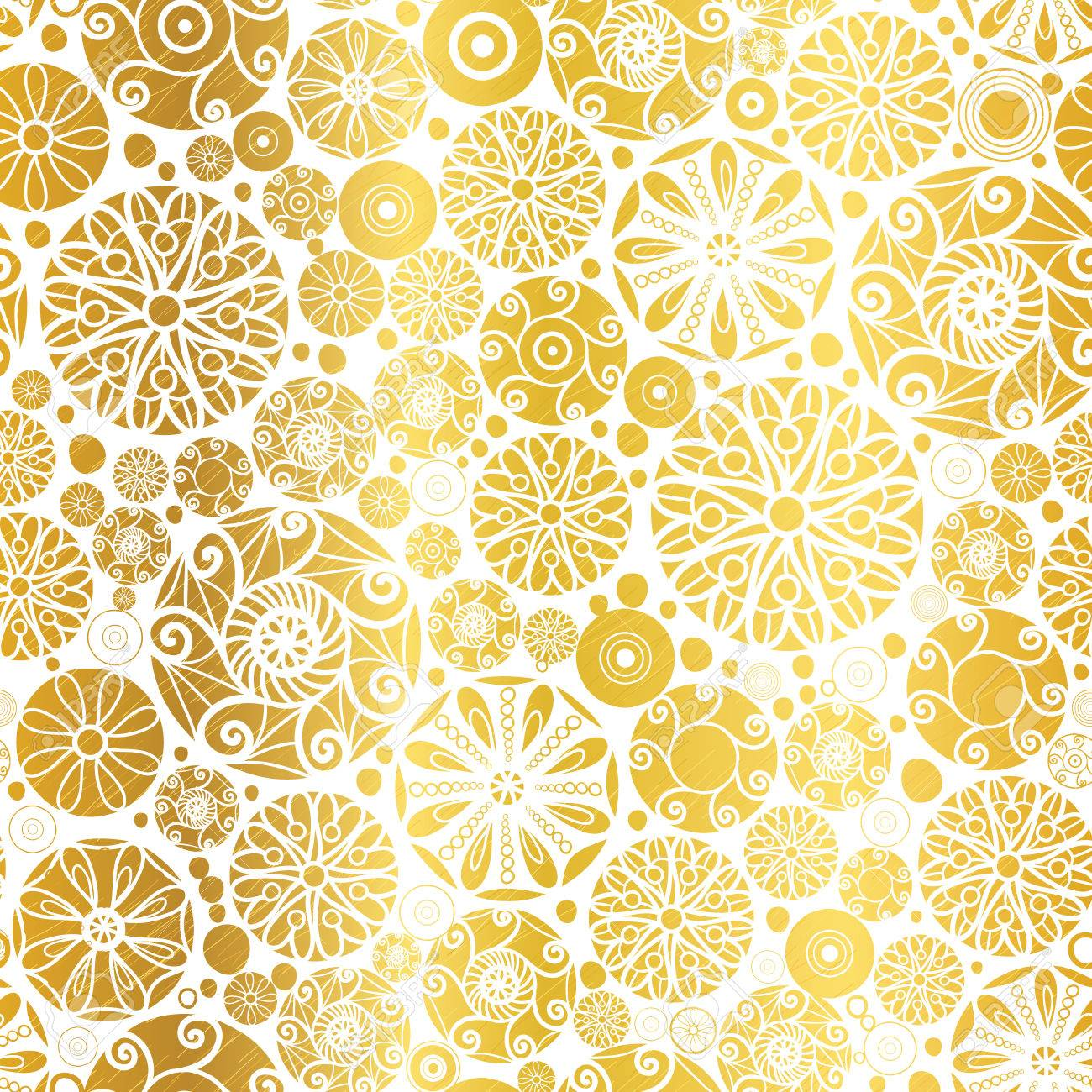 Vector Golden Abstract Doodle Circles Seamless Pattern Background