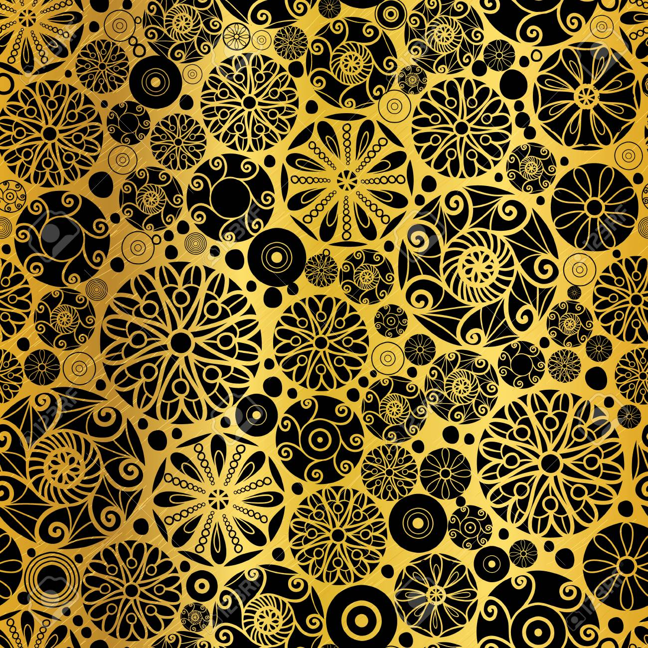 Vector Black Gold Abstract Doodle Circles Seamless Pattern Background
