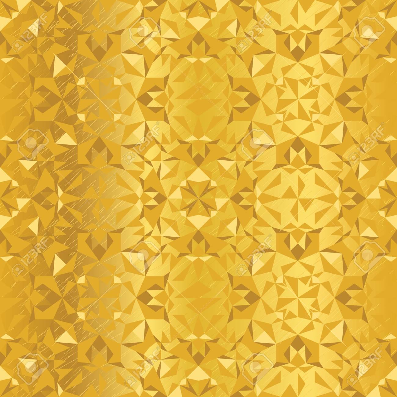 Vector Golden Foil Abstract Kaleidoscope Triangles Grunge Foil