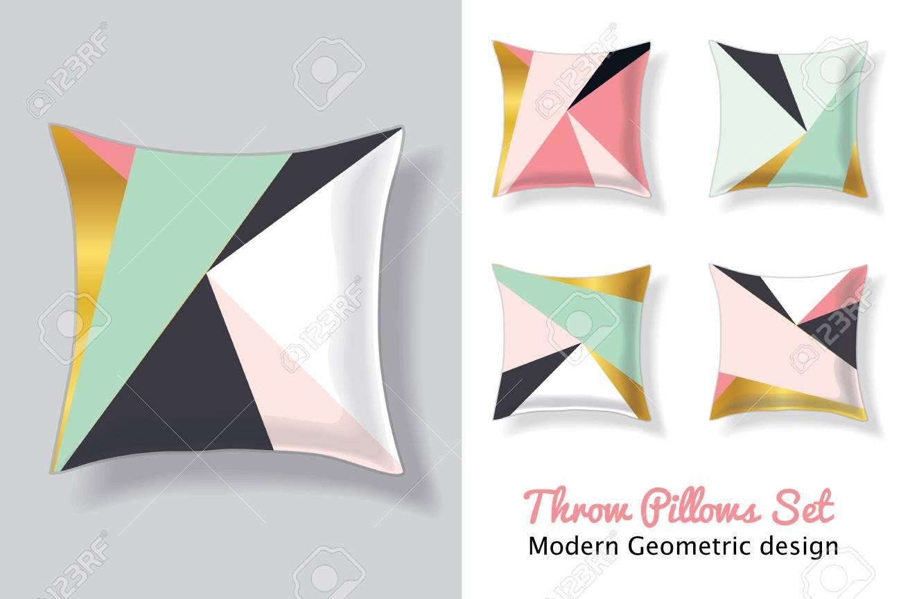 Conjunto De Rosa Y Verde Menta Throw Pillows In Coincidencia De ...