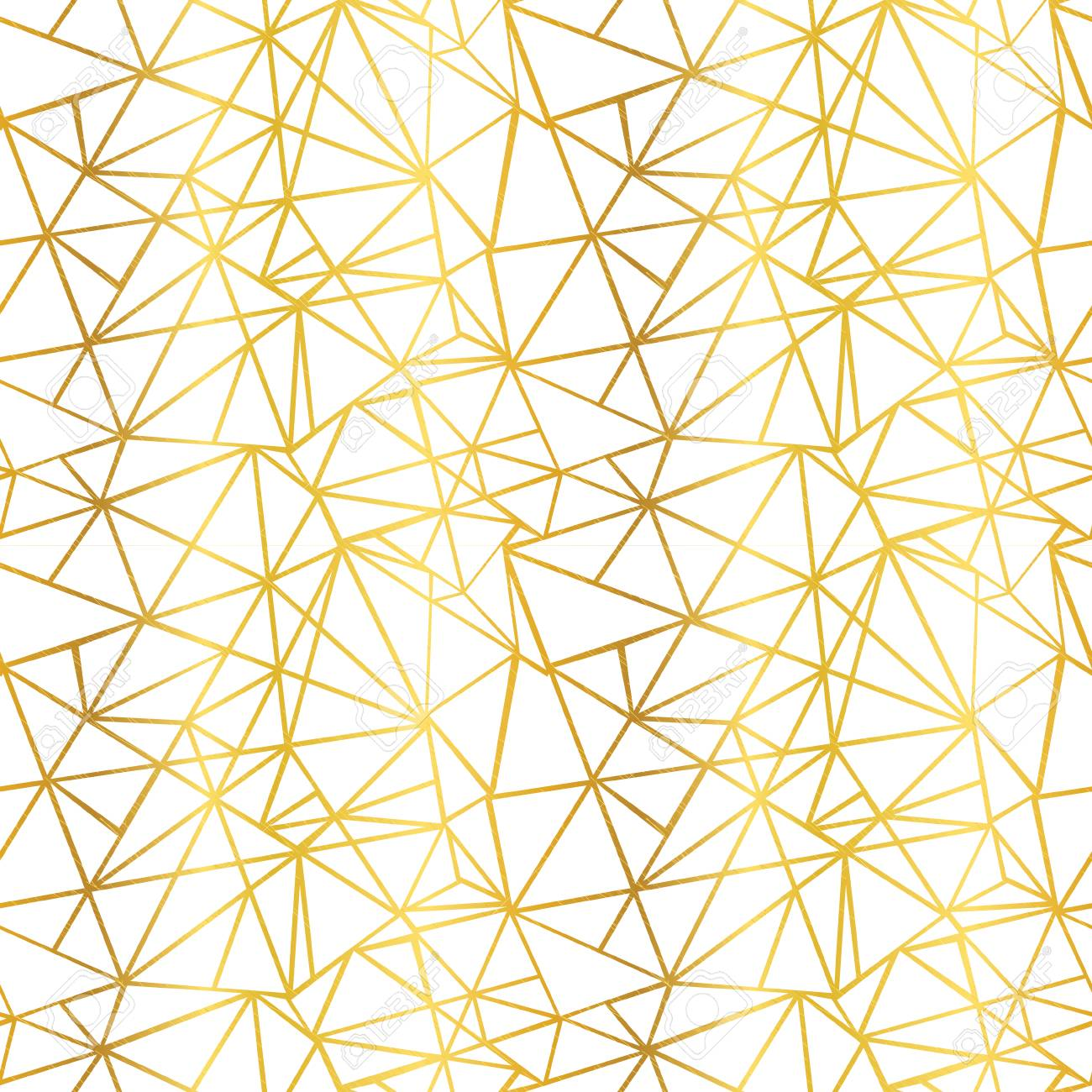 Vector White And Gold Foil Wire Geometric Mosaic Triangles Repeat