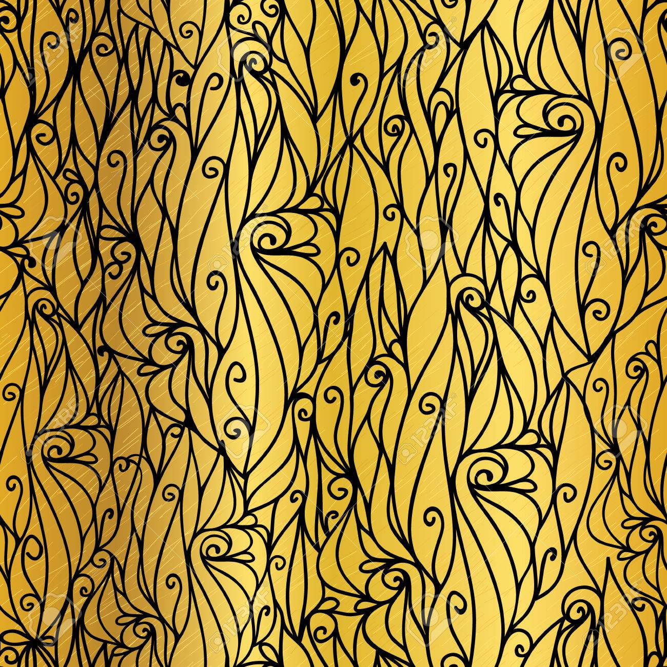 Vector Gold And Black Abstract Scrolls Swirls Seamless Pattern