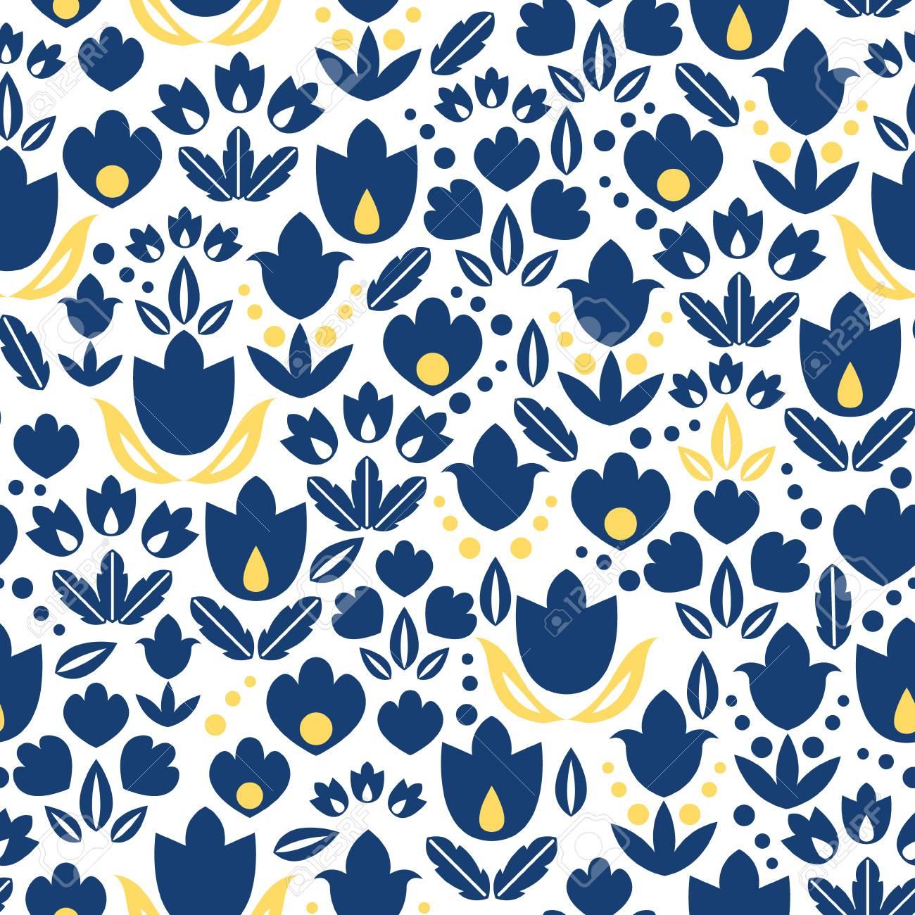 Vektor Dunkelblau Navy Und Gelbe Tulpen Blumen Nahtlose Wiederholen
