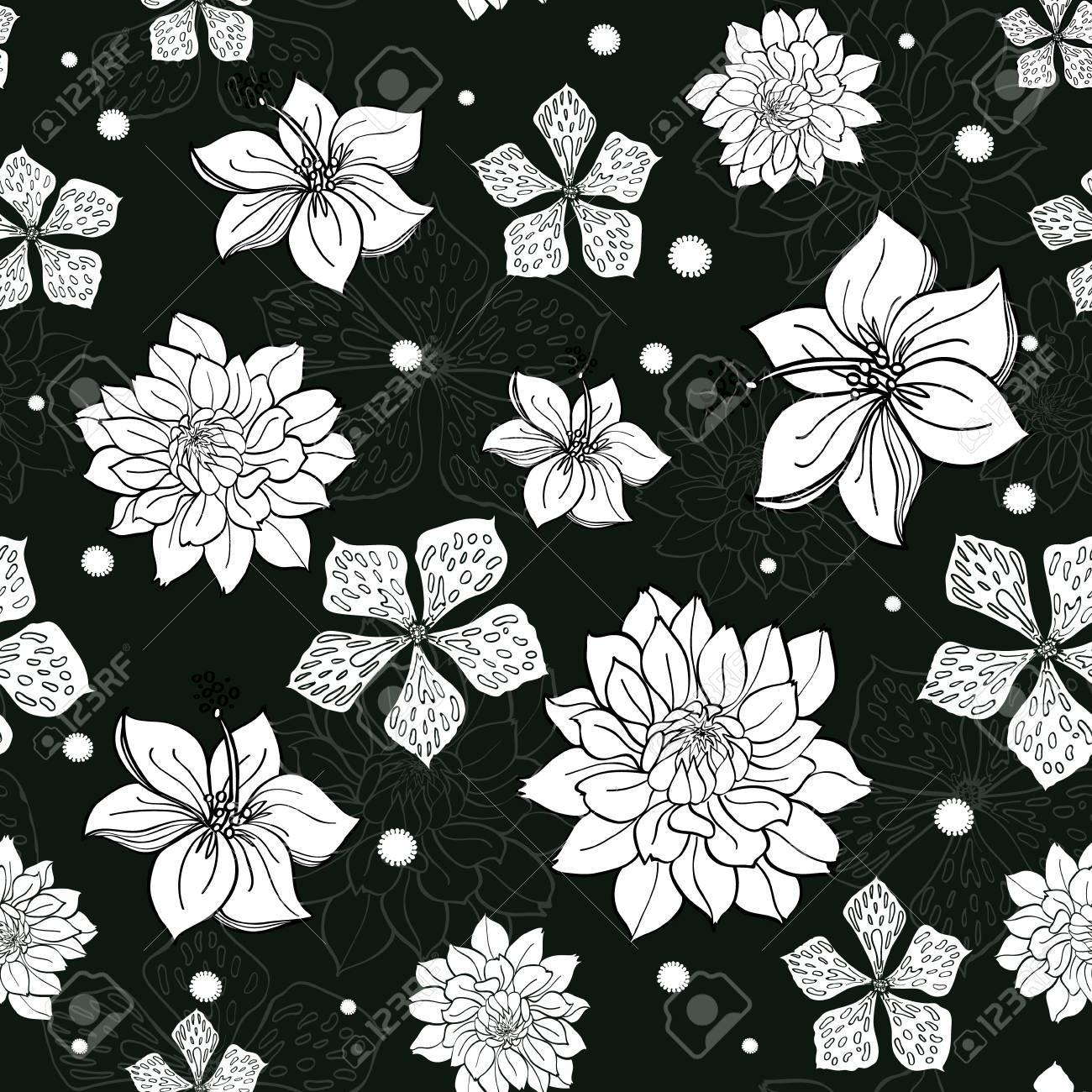 Vector Tropical Fleurs Noir Et Blanc Transparente Motif De
