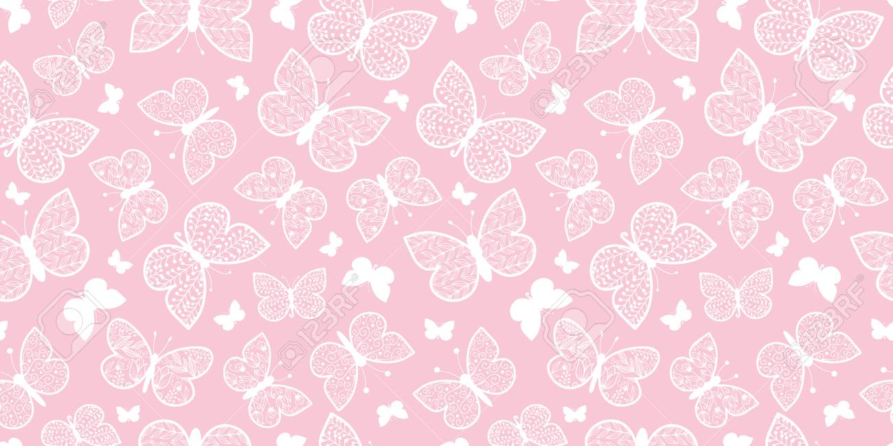Vector Pastel Pink Butterflies Repeat Seamless Pattern Background