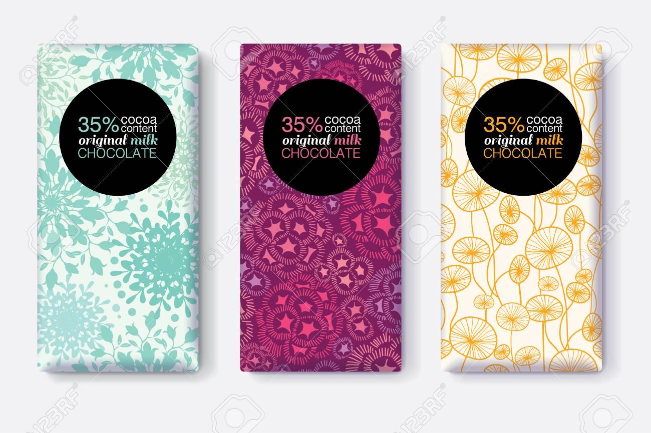Vector Conjunto De Diseños De Paquete De Barra De Chocolate Con ...