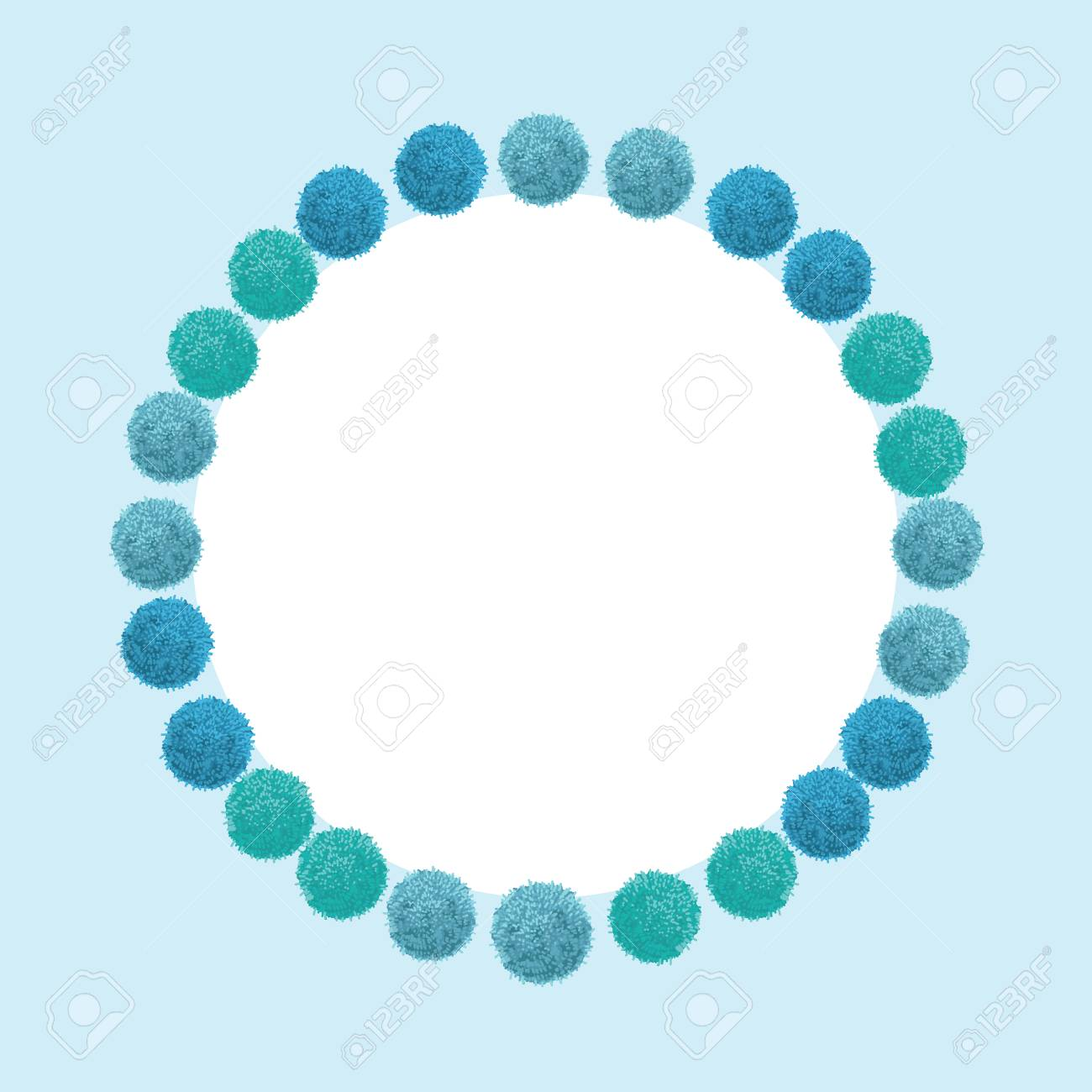 Vector Baby Boy Blue Birthday Party Pom Poms Circle Set And Round