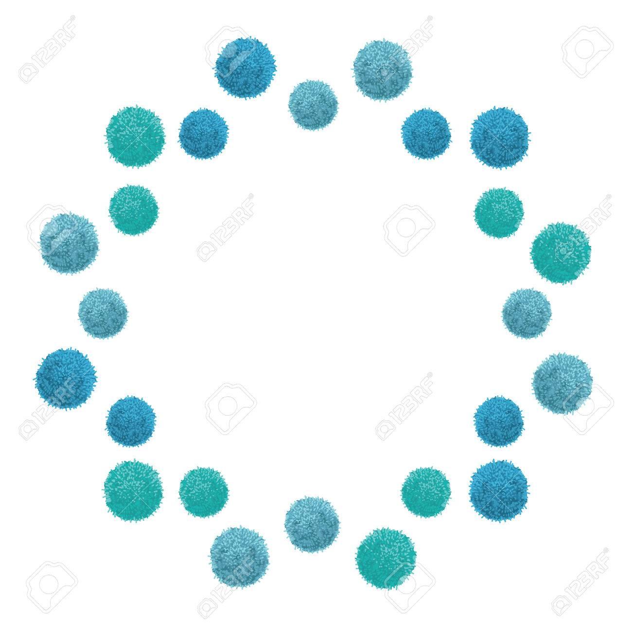 Vector Baby Boy Azul Cumpleaños Pom Poms Círculo Flotante Conjunto Y ...