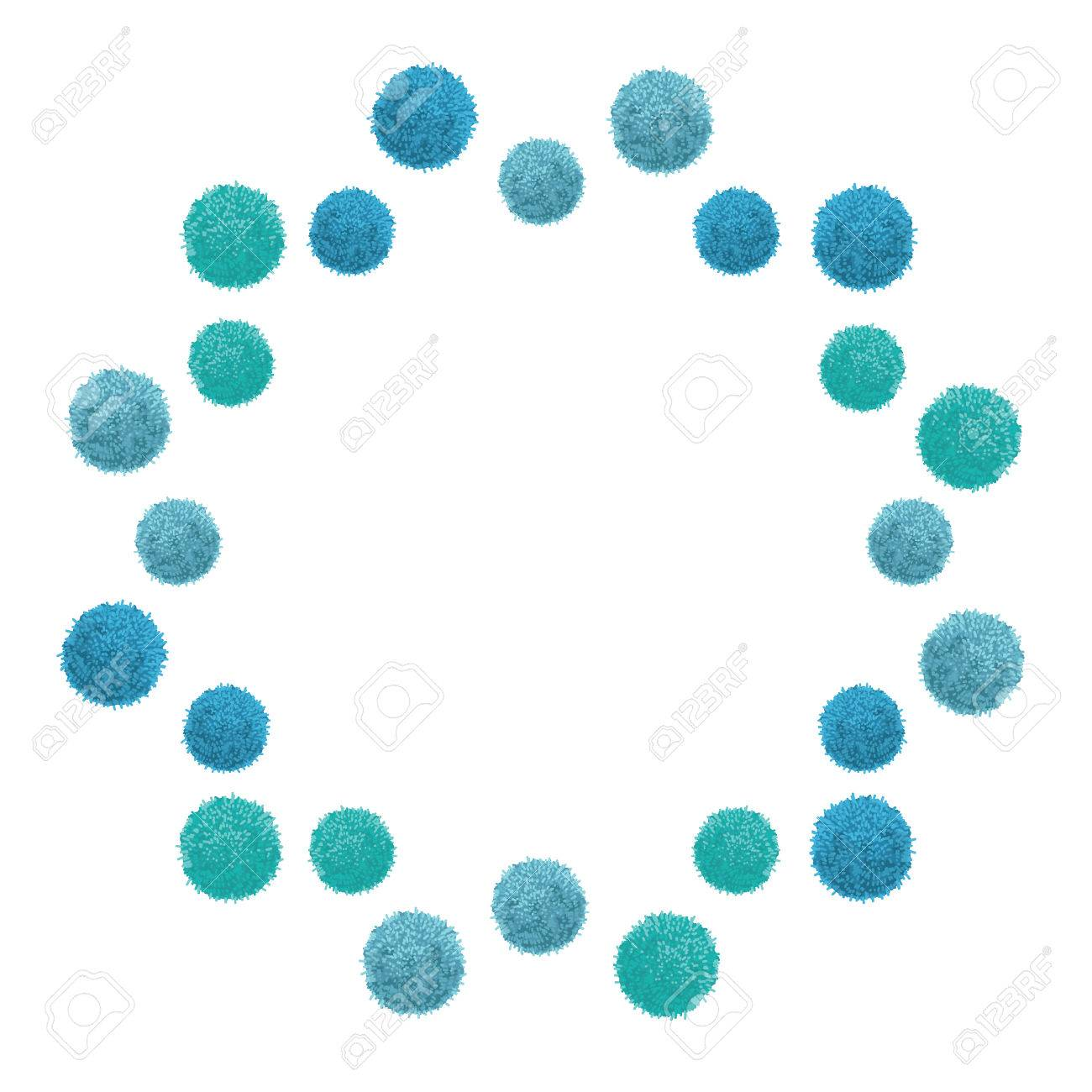 Vector Baby Boy Blue Birthday Party Pom Poms Floating Circle