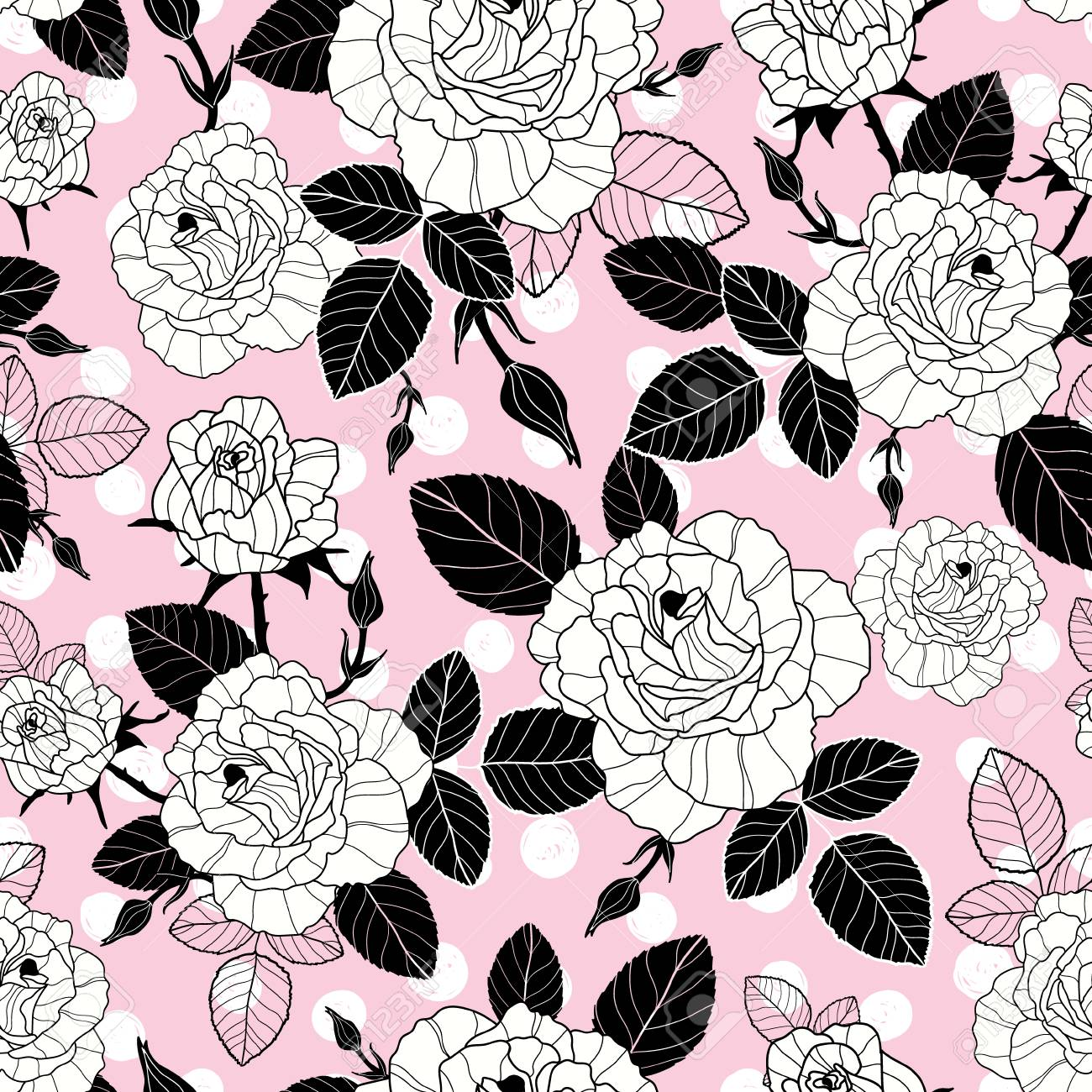 Vector Vintage Black And Pink Roses And Leaves On Polka Dot