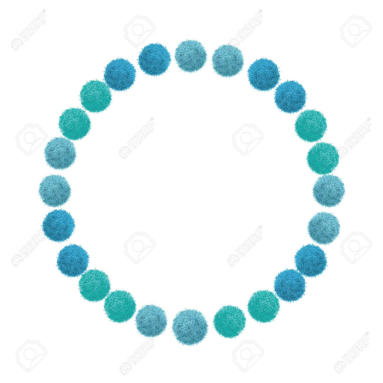 vector blue birthday party pom poms circle set and round frame