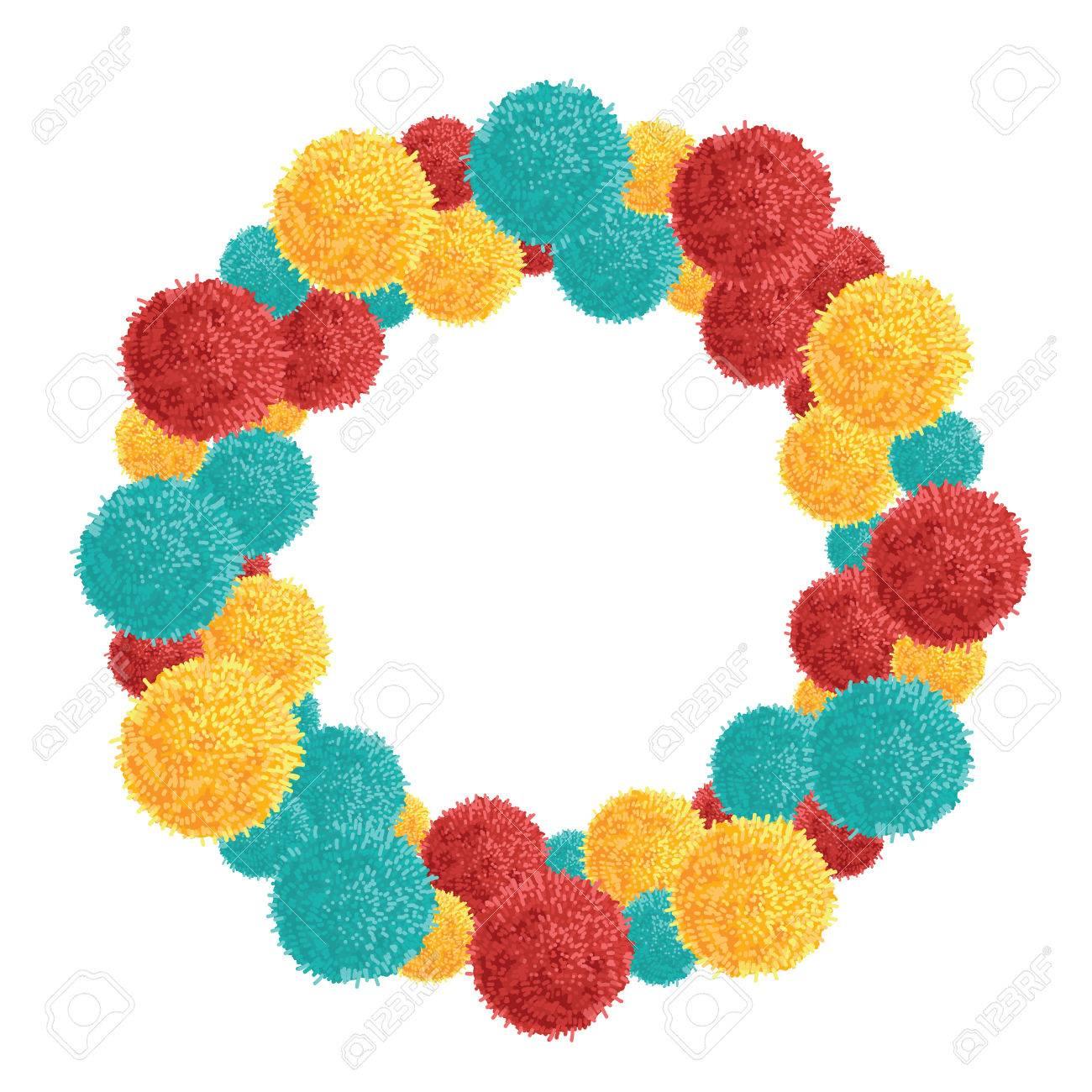 Vector Big Chunky Wreath Con Vibrante Colorido Cumpleaños Pom Poms ...