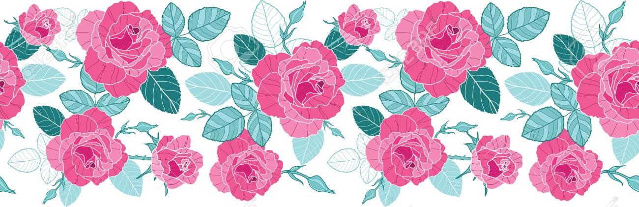 Vector Vintage Rosa Rosas Y Hojas Azules Sobre Fondo Blanco Vertical ...