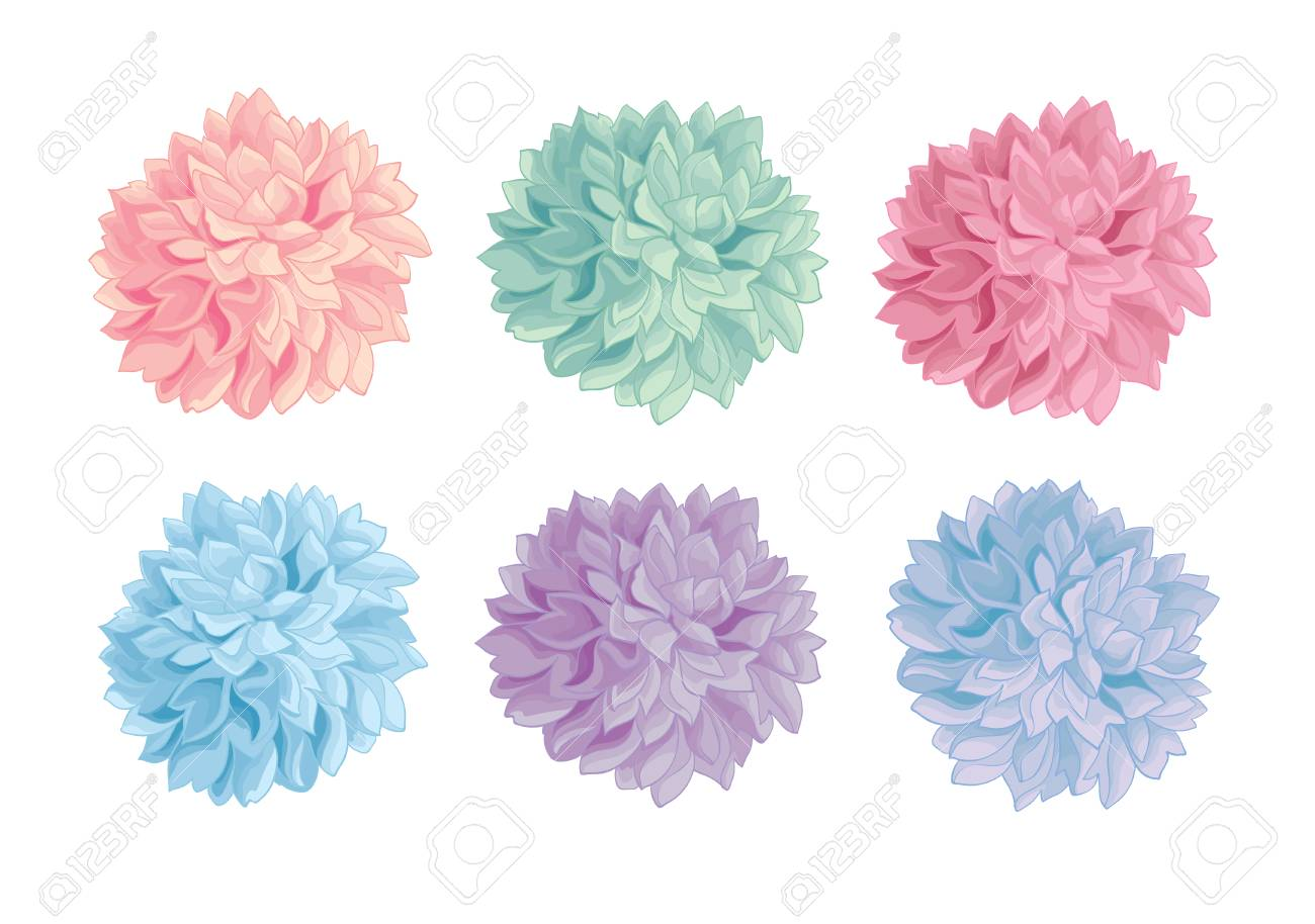 Vector Set Of Pastel Colorful Birthday Party Paper Pom Poms ...