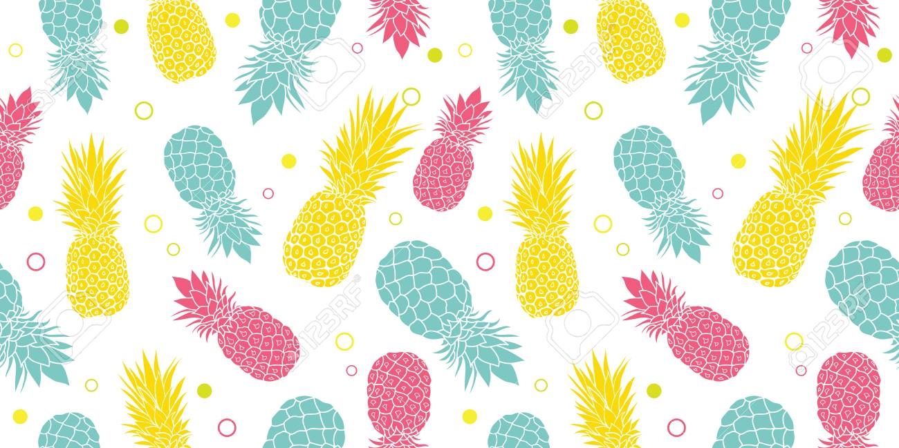 Vector Colorful Pineapples Summer Tropical Seamless Pattern