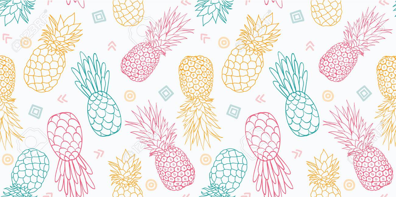 Fabulous Colorful Pineapples Vector Seamless Pattern Great As A Textile Print Party Invitation Or Packaging With Pineapple Wallpaper
