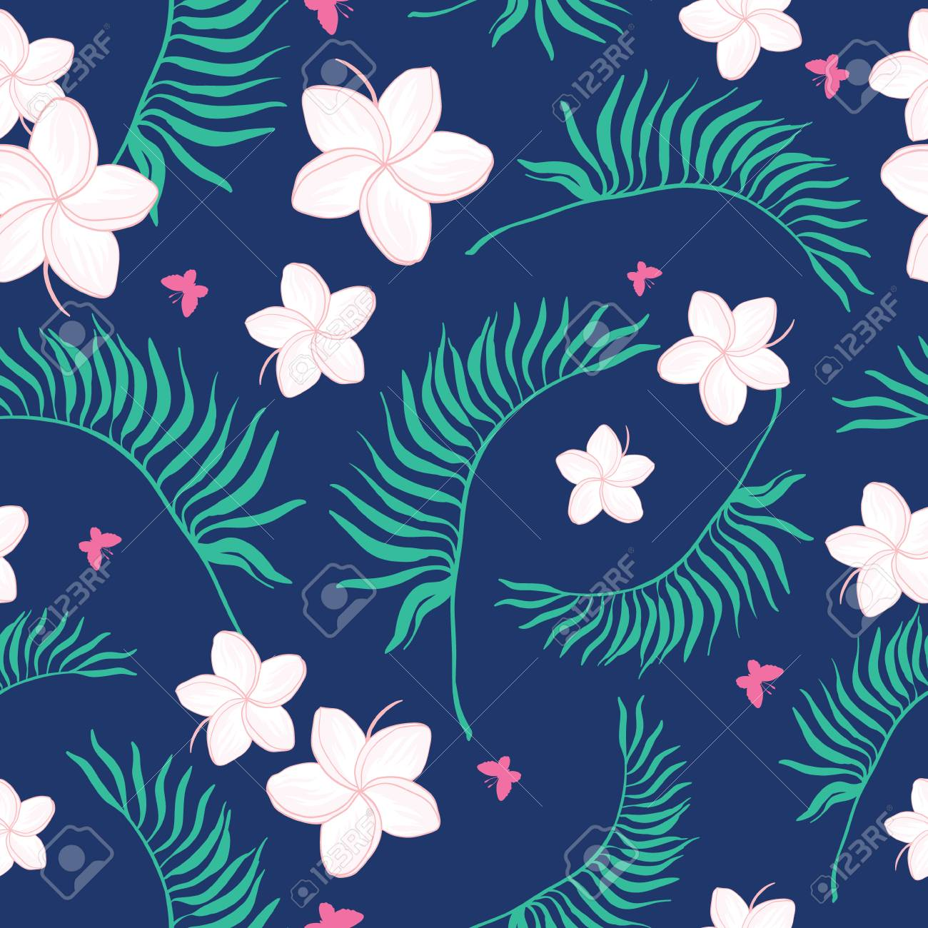 Tropical Navy And Pink Flowers Seamless Pattern Great For Summer
