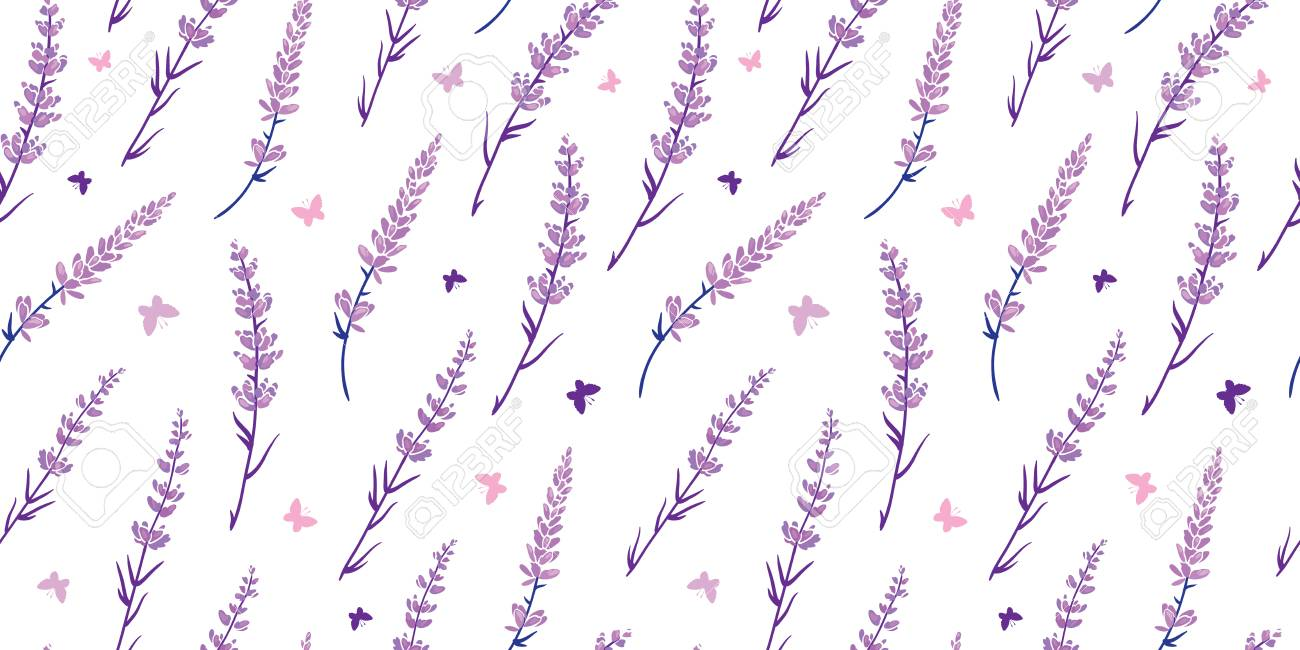 Purple Lavender Flowers Repeat Pattern Design Great For Springtime Stock Photo Picture And Royalty Free Image Image 106411011