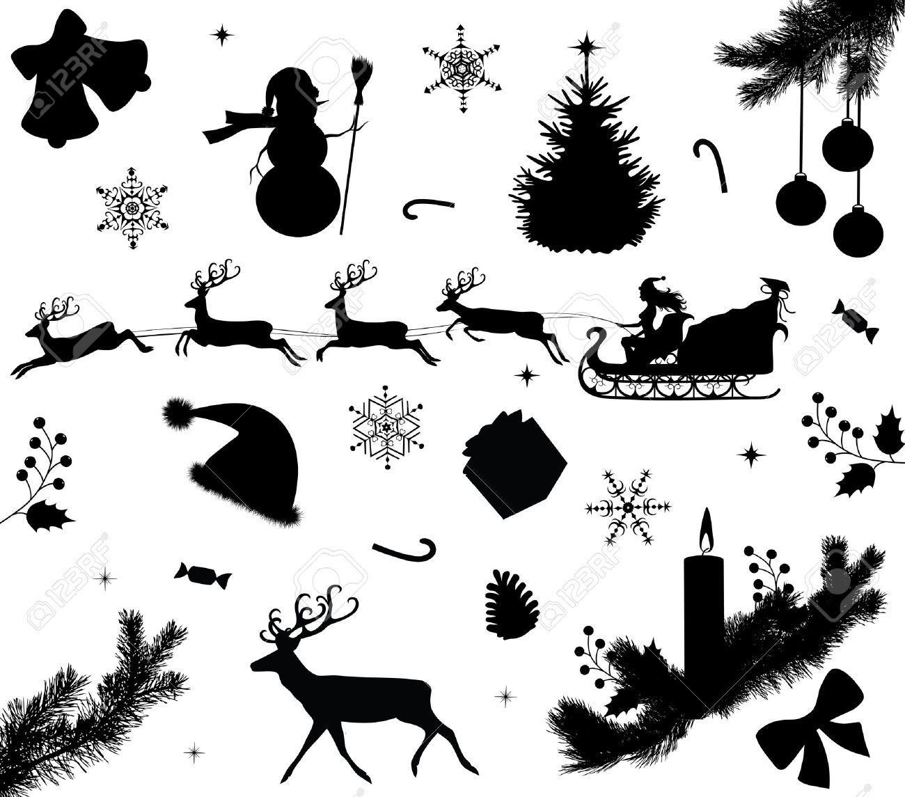 Collection Of A Christmas Silhouettes. Royalty Free Cliparts ...
