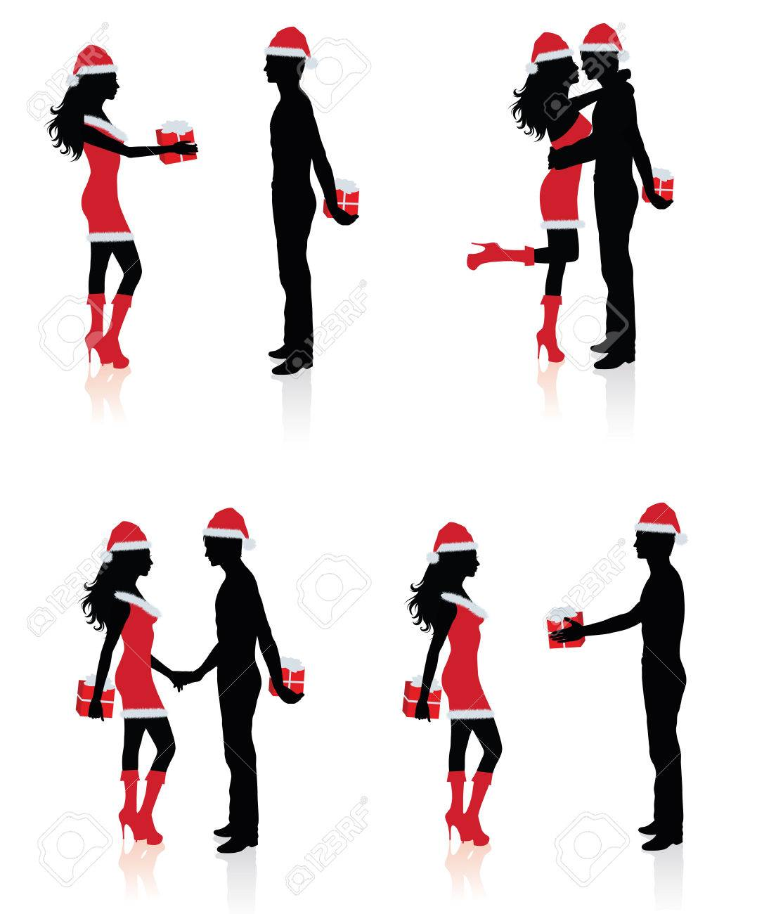 Collections of silhouettes of couples giving each other presents. Stock Vector - 6022389