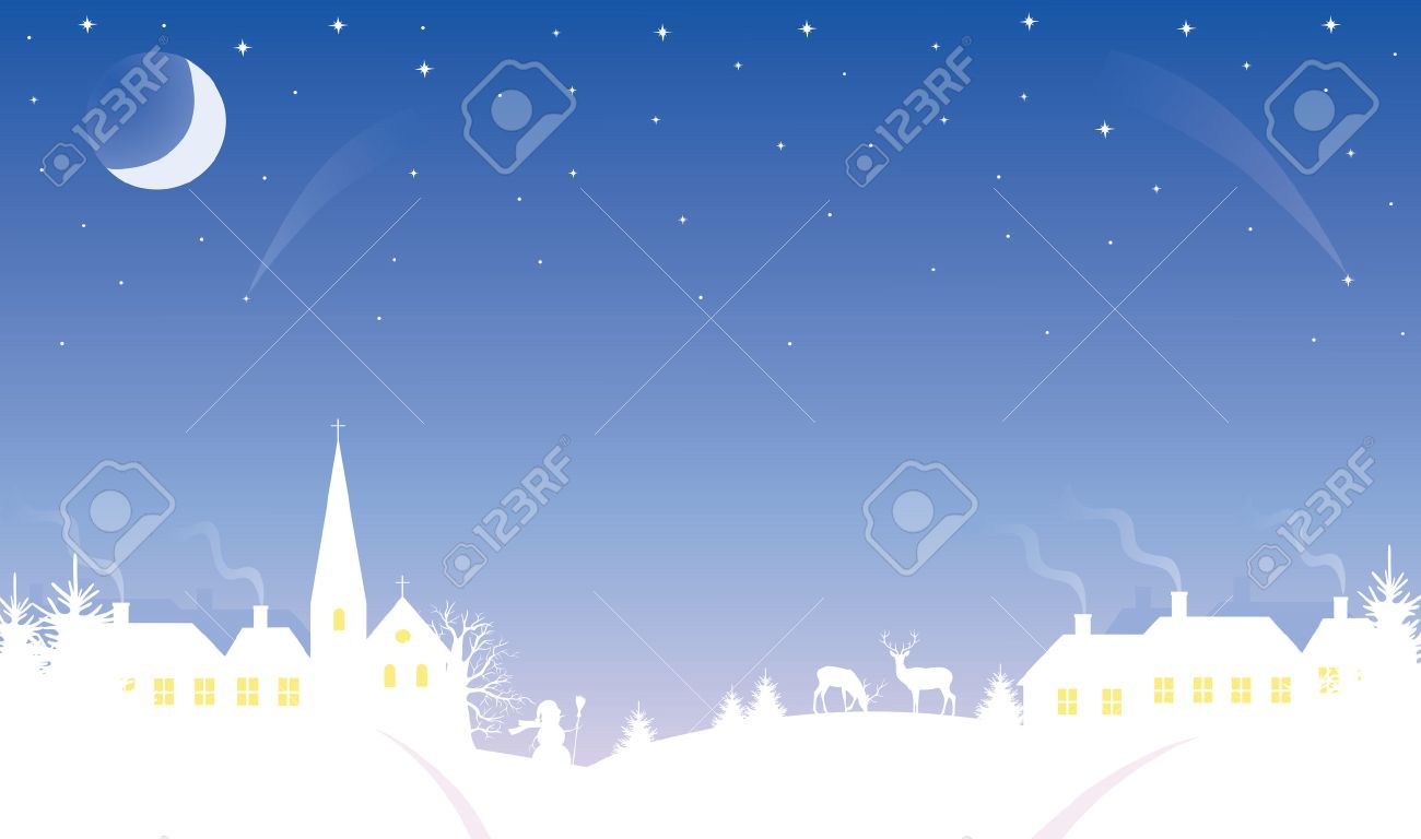 Silhouette of a small village at winter time. The Moon and stars in the sky. Stock Vector - 6066494