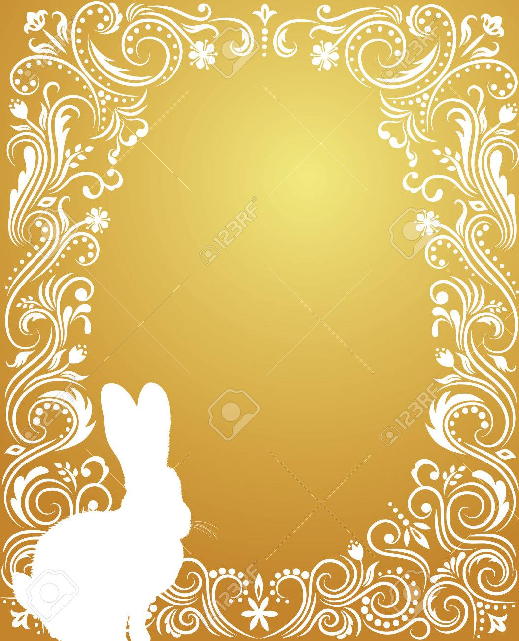Pattern in a shape of an egg on the gold background with  silhouettes of rabbit. Stock Vector - 6066497
