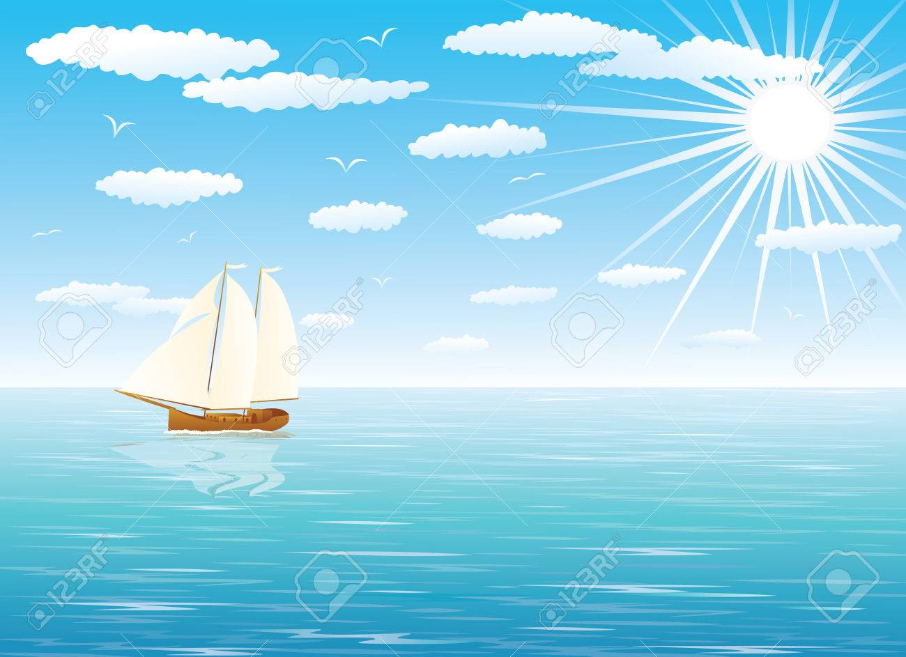 Sailing Ship at Sea under full sail with a cloudy blue sky in the background. Stock Vector - 6128834