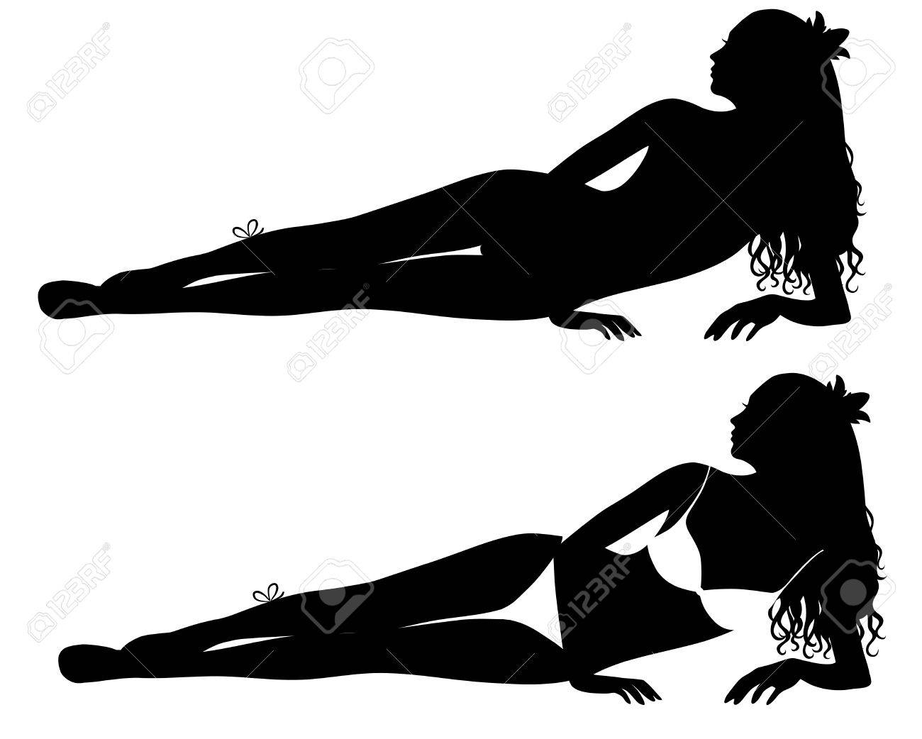 Laying silhouettes of a woman in bikini. Stock Vector - 6170602